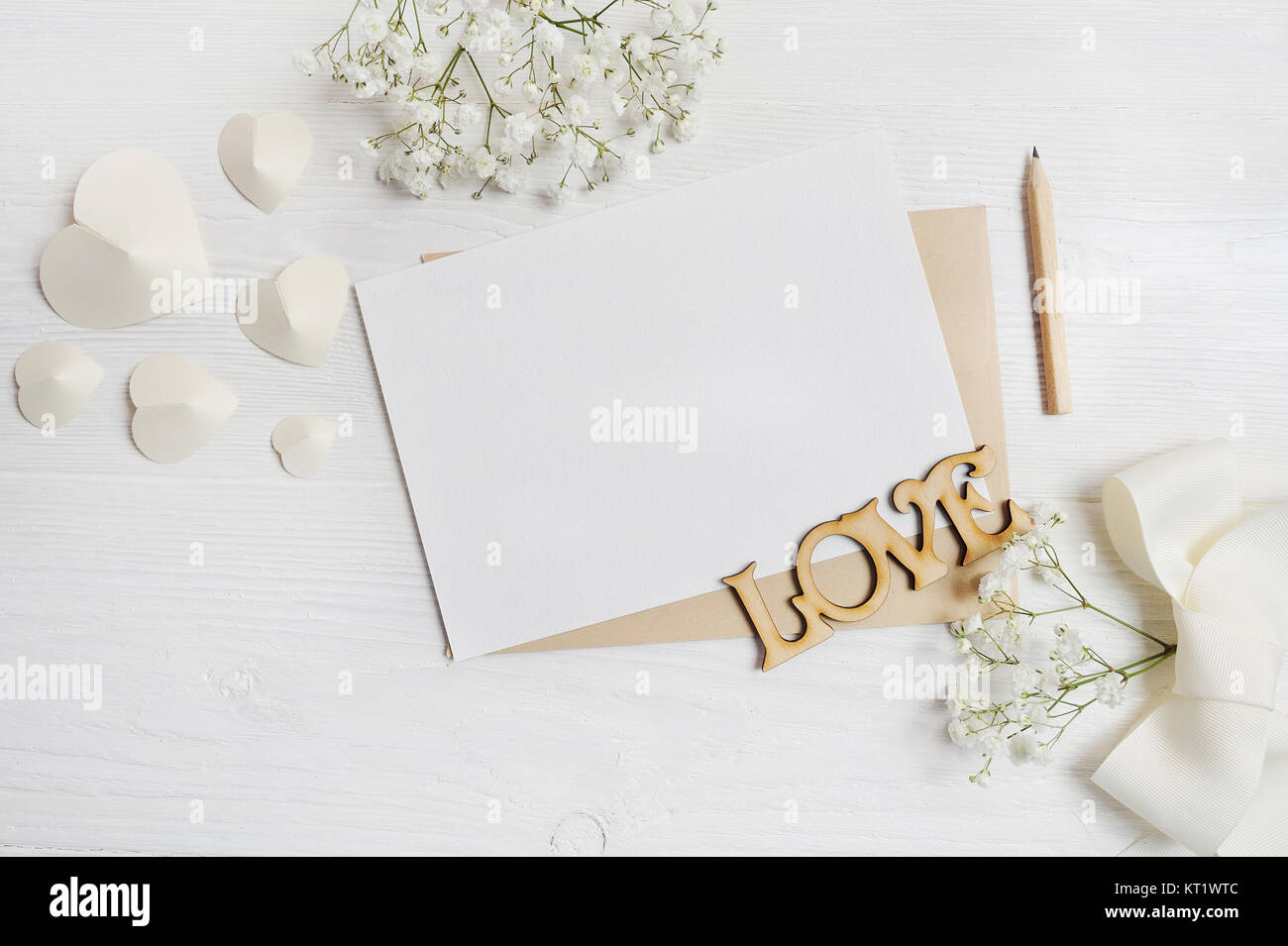 Mockup Letter With Pen Greeting Card For St. Valentineu0027s Day In Stock  Photo, Royalty Free Image: 169687292   Alamy
