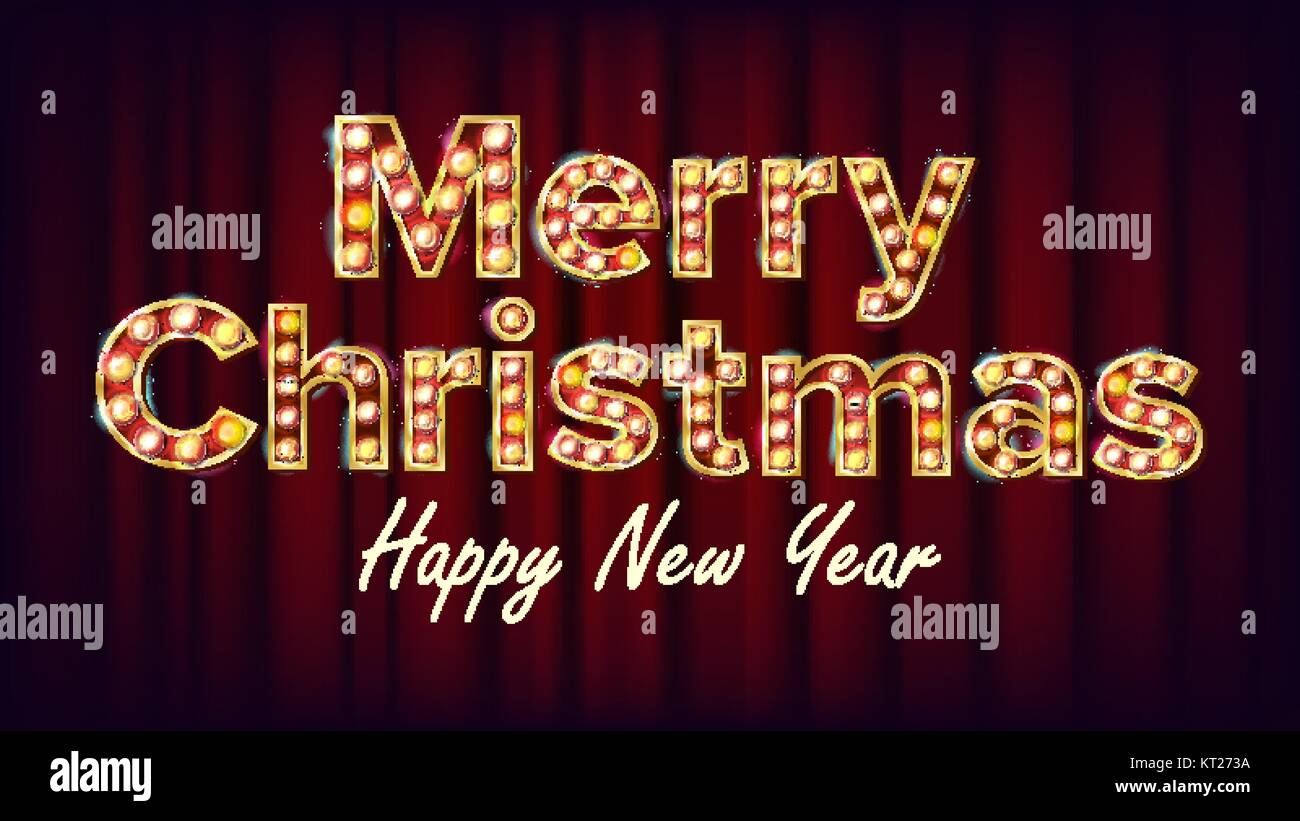 merry christmas sign and happy new year vector vintage golden stock