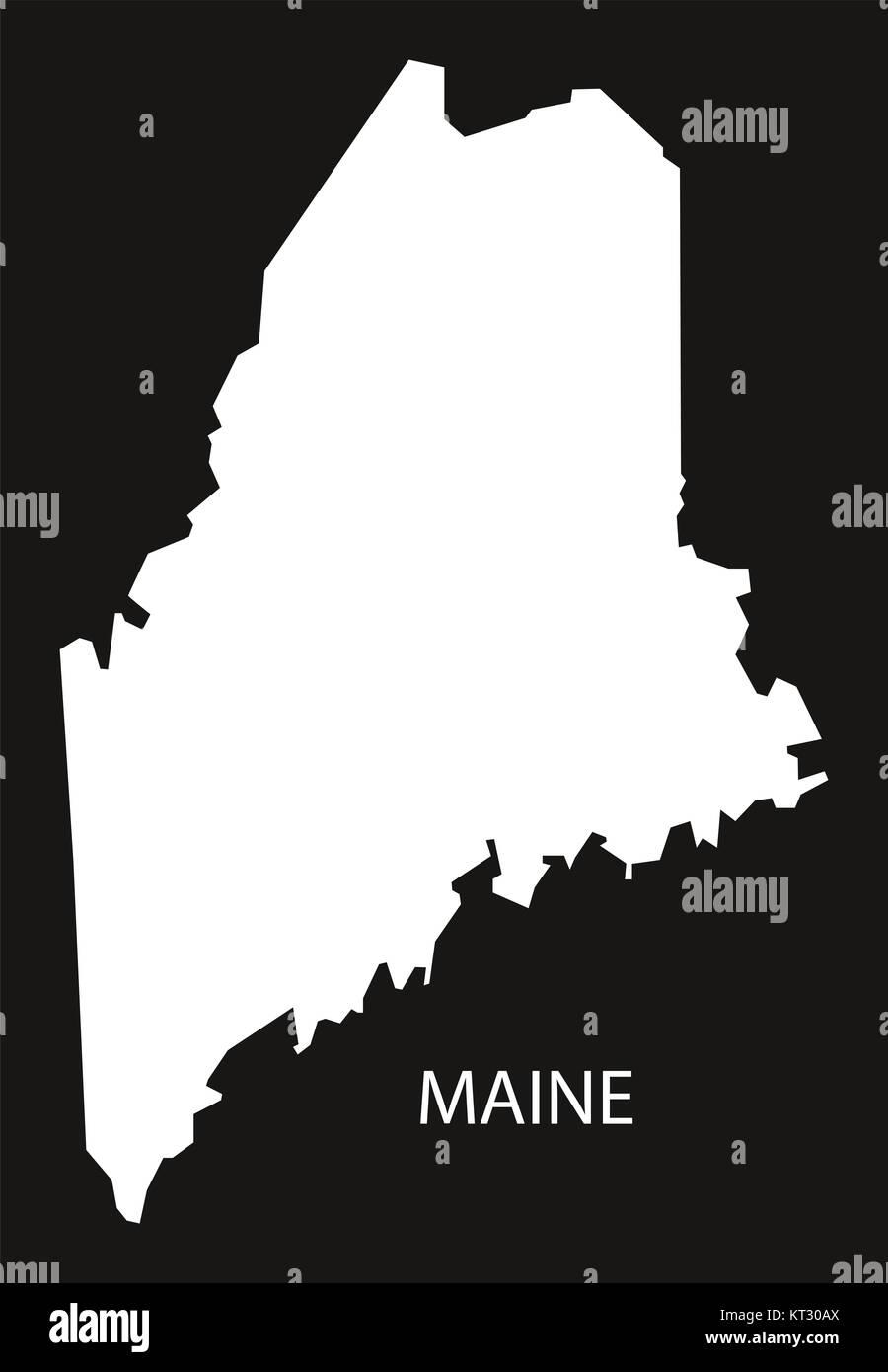 Maine Map Usa.Maine Usa Map Black Inverted Silhouette Stock Photo 169711218 Alamy