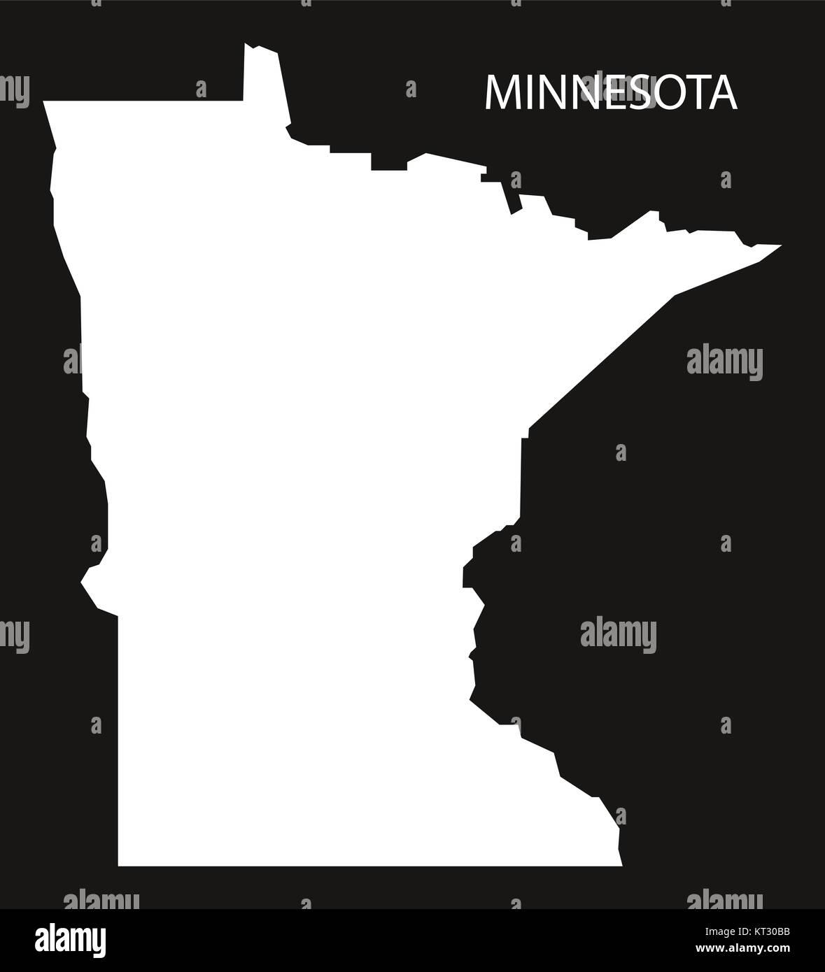 Minnesota USA Map black inverted silhouette Stock Photo: 169711231 ...