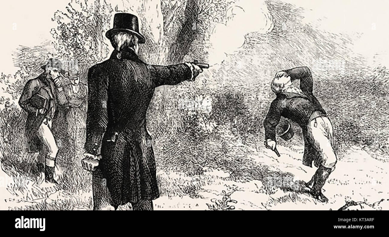 ALEXANDER HAMILTON (1755 or 1757-1804) American statesman and Founding  Father. A 19th century engraving of the Burr-Hamilton duel on 11 July 1804