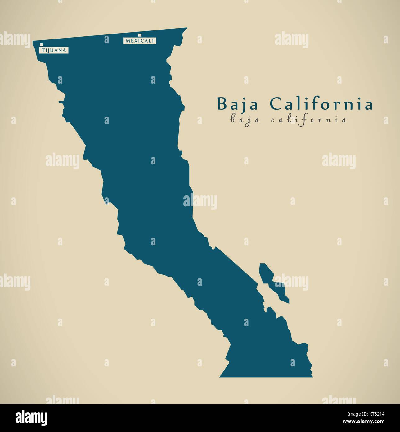 Baja California Map Mexico.Modern Map Baja California Mexico Mx Illustration Stock Photo