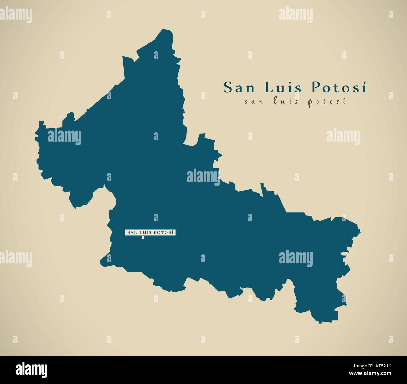 Modern Map San Luis Potosi Mexico Mx Illustration Stock Photo