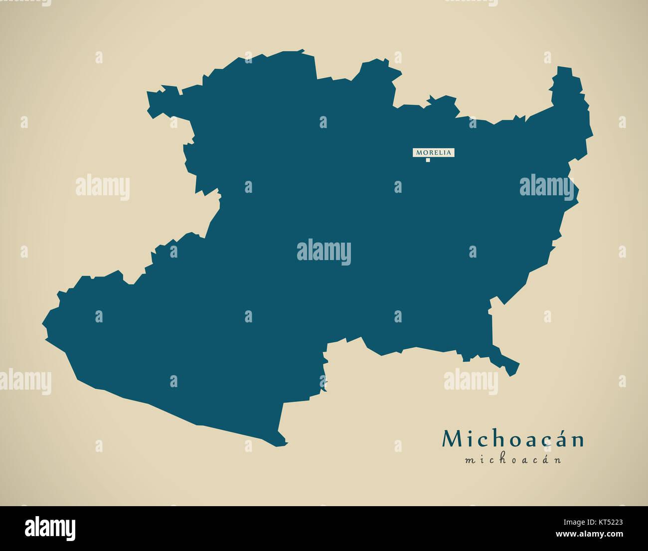 Modern Map Michoacan Mexico MX Illustration Stock Photo Royalty - Michoacan mexico map