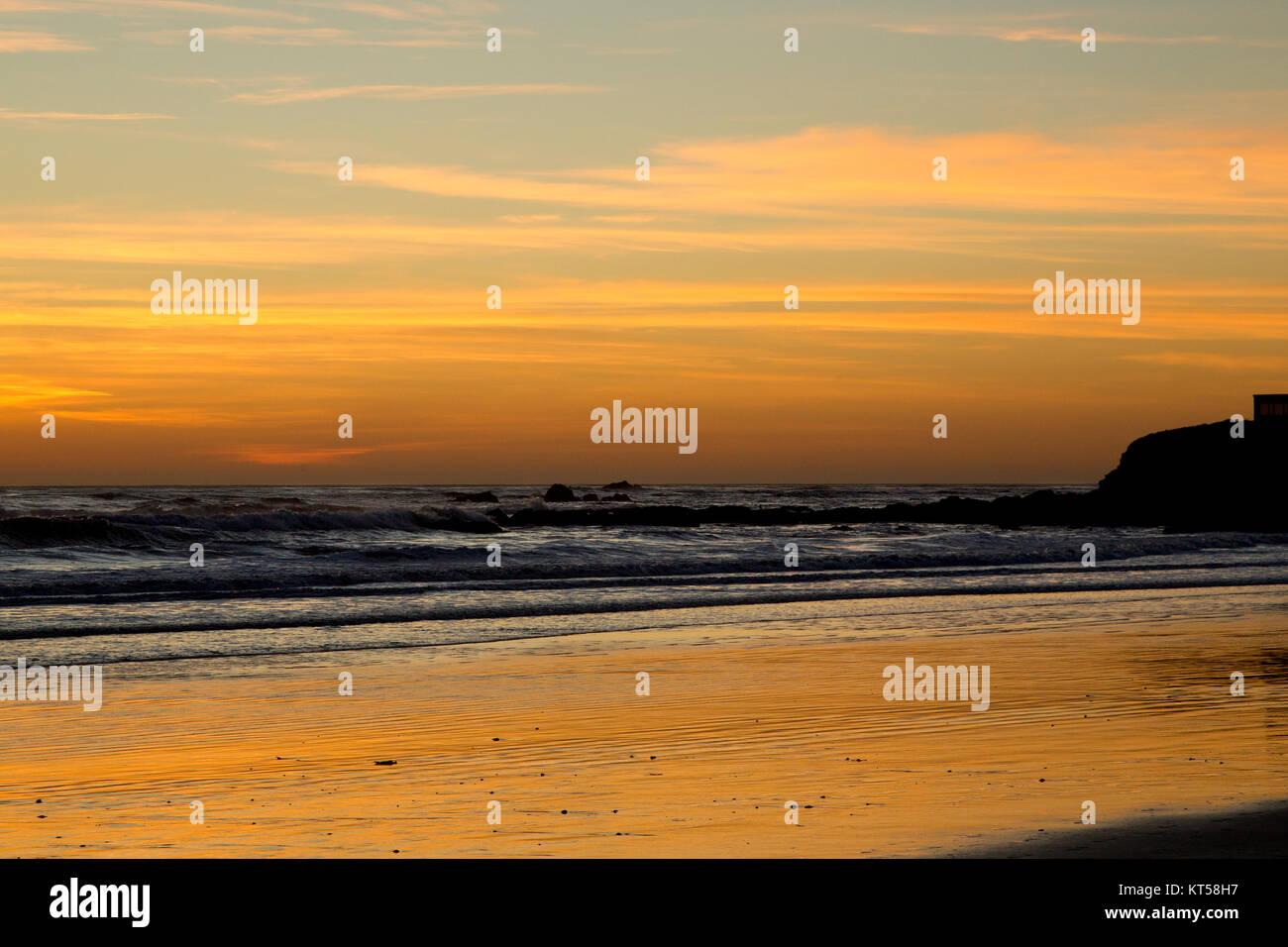 Sunset On Cayucos California Beach