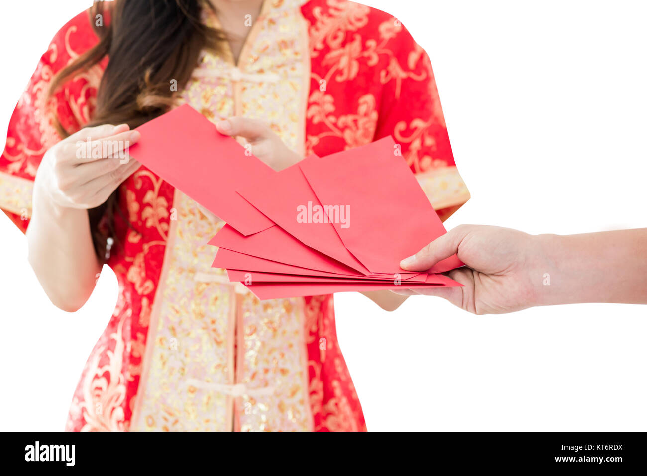 happy chinese new year asian woman holding red envelope isolated on white background