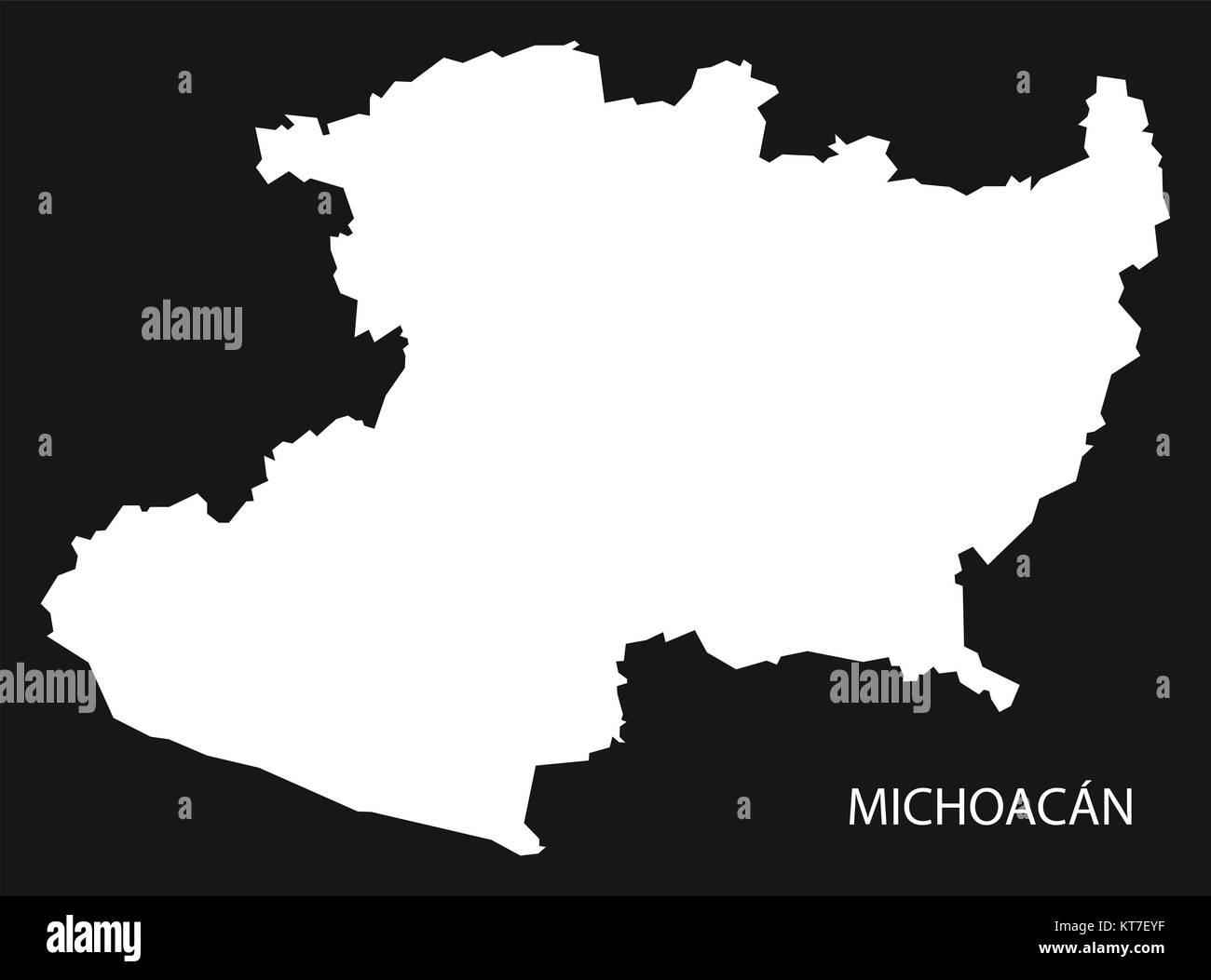 Michoacan Mexico Map black inverted silhouette Stock Photo ...