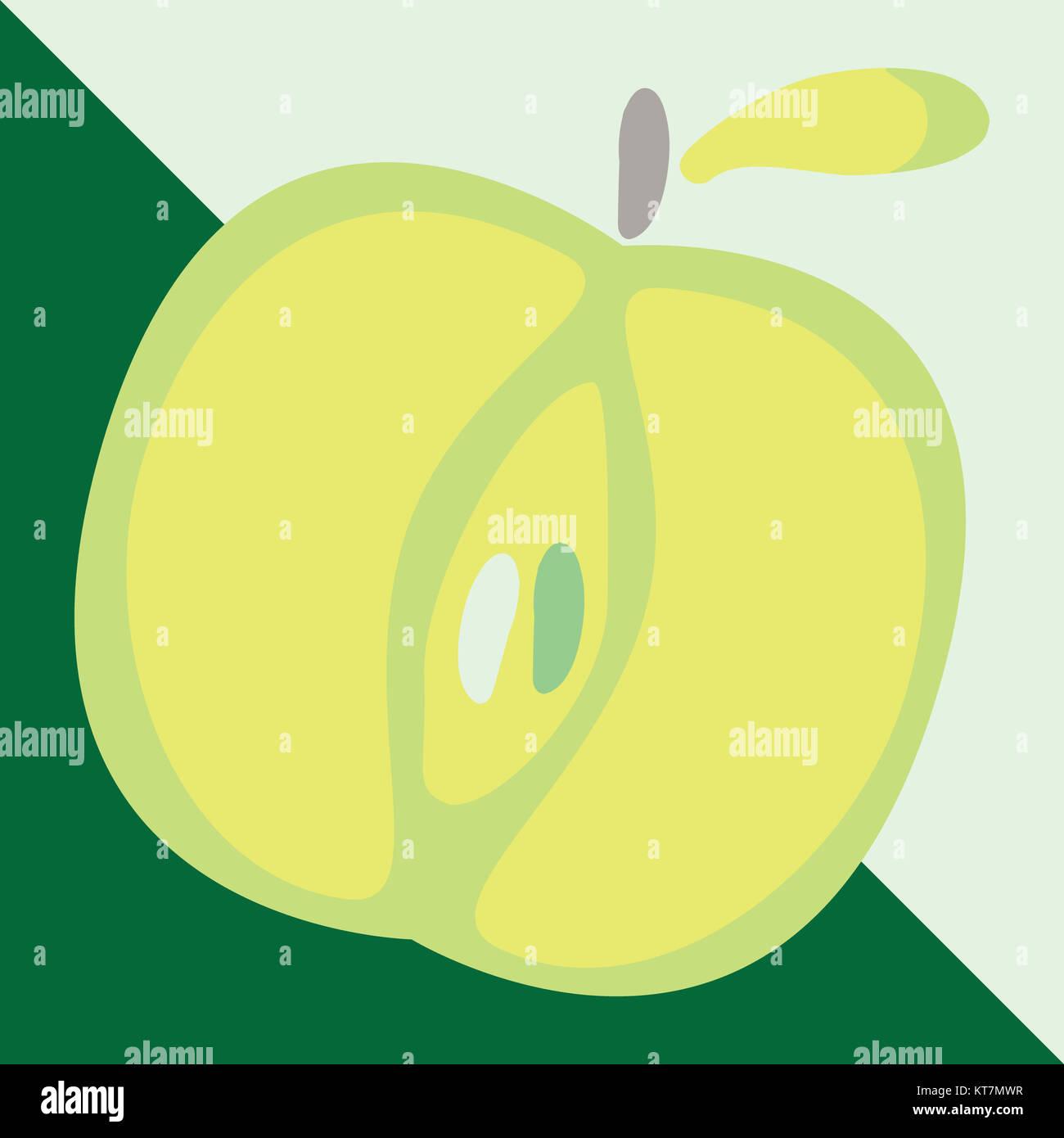 green apple sign icon. fruit with leaf symbol. vector illustration
