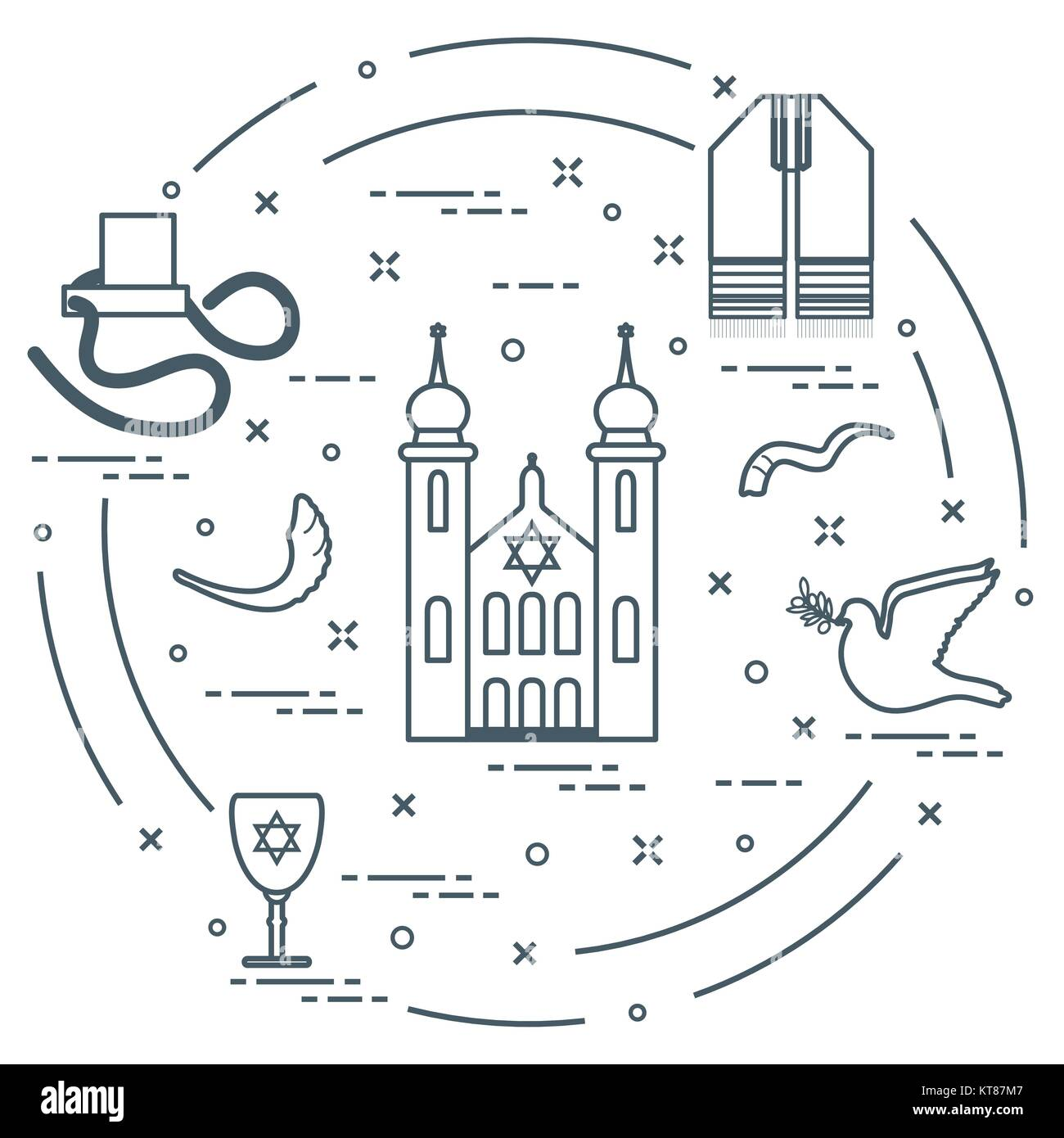 Jewish Symbols Tfillin Synagogue Sheeps Horn Dove Davids Star