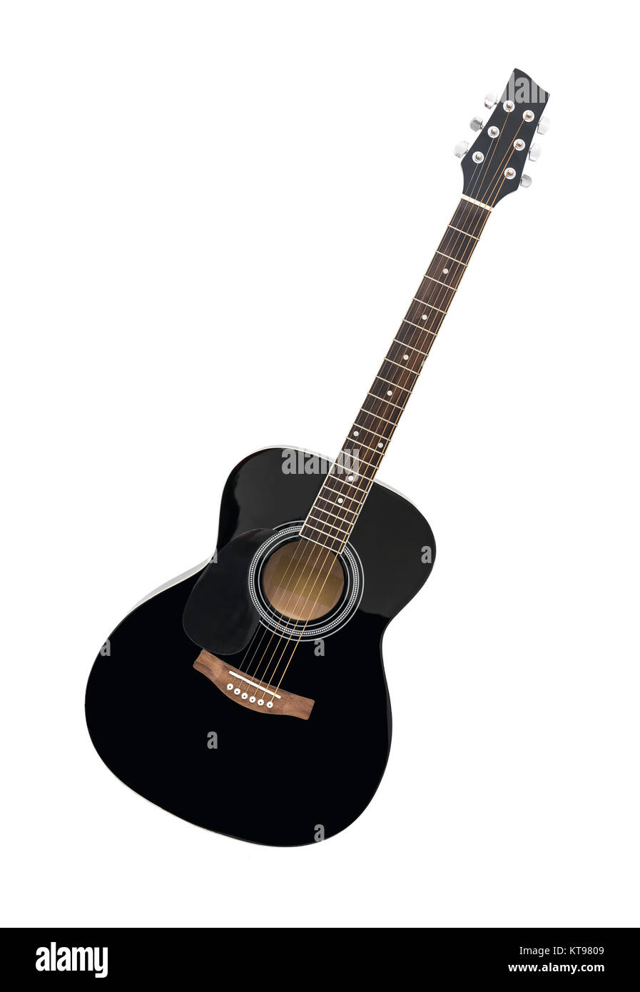 Black Classical Acoustic Guitar Isolated On A White Background Stock