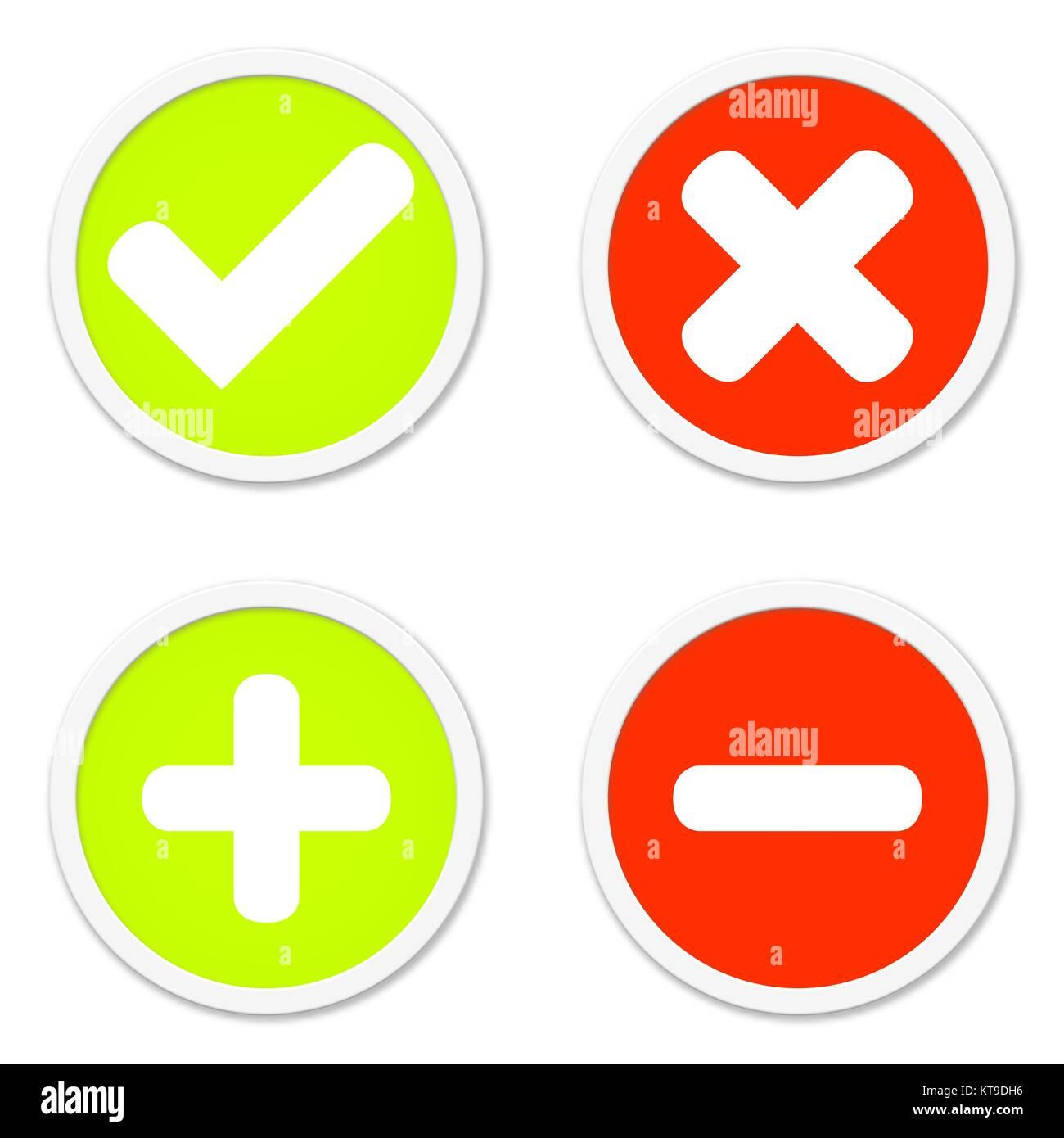 Vier Runde Isolierte Buttons In Rot Und Grun Zeigen Ja Nein Plus