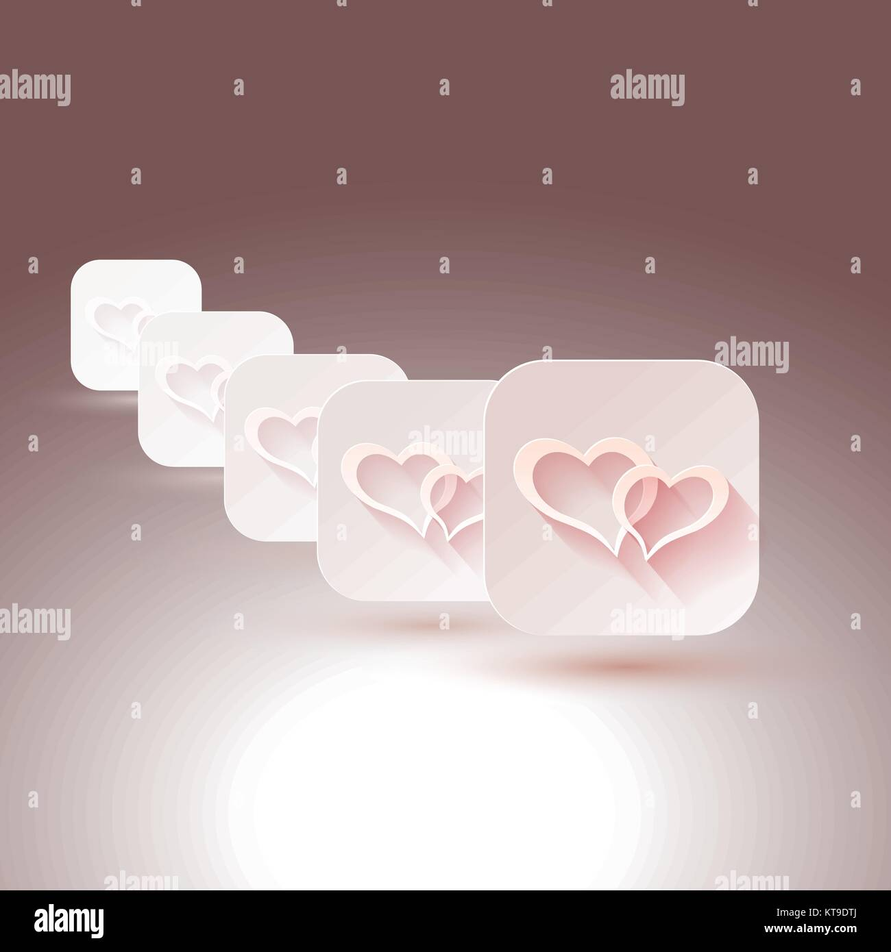 hearts with shadows for designs of wedding invitations stock vector