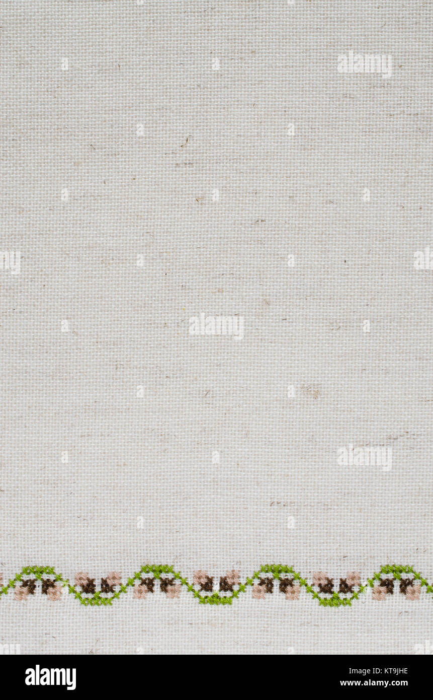 Texture Of Beige Linen Fabric With Embroidery Stock Photo 169857226
