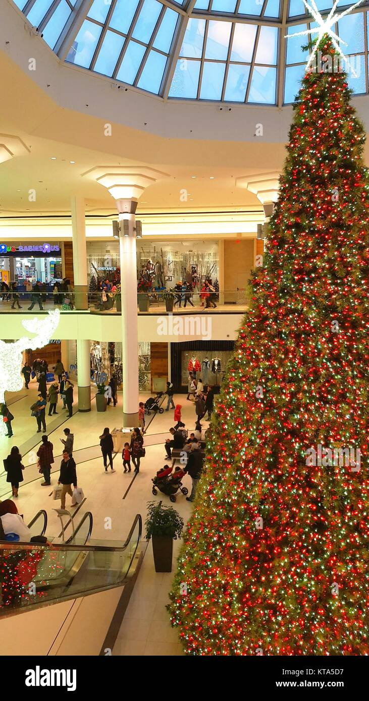 christmas decorations at markville plaza mall in toronto canada