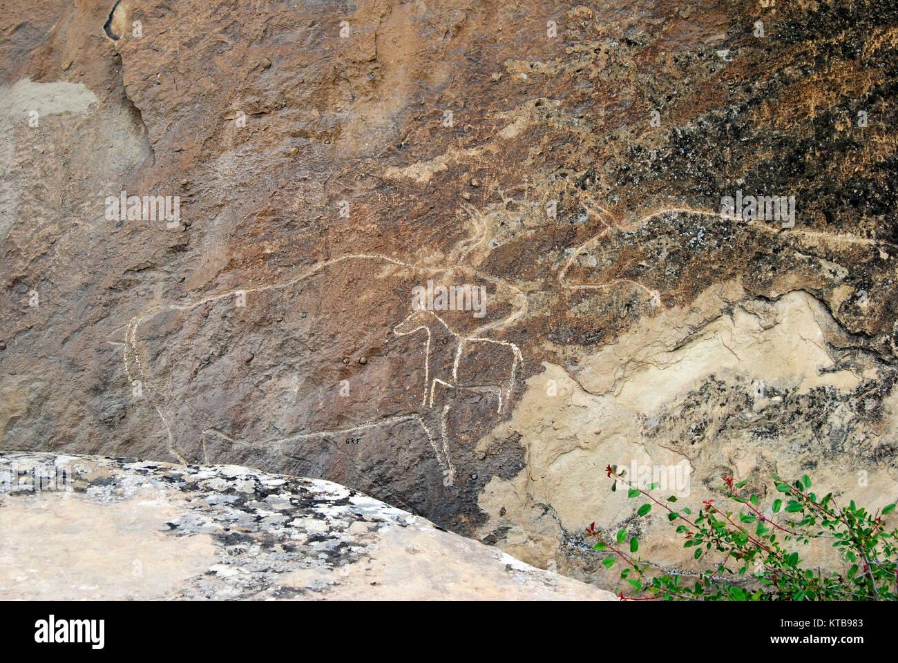 Gobustan rock art cultural landscape stock photos