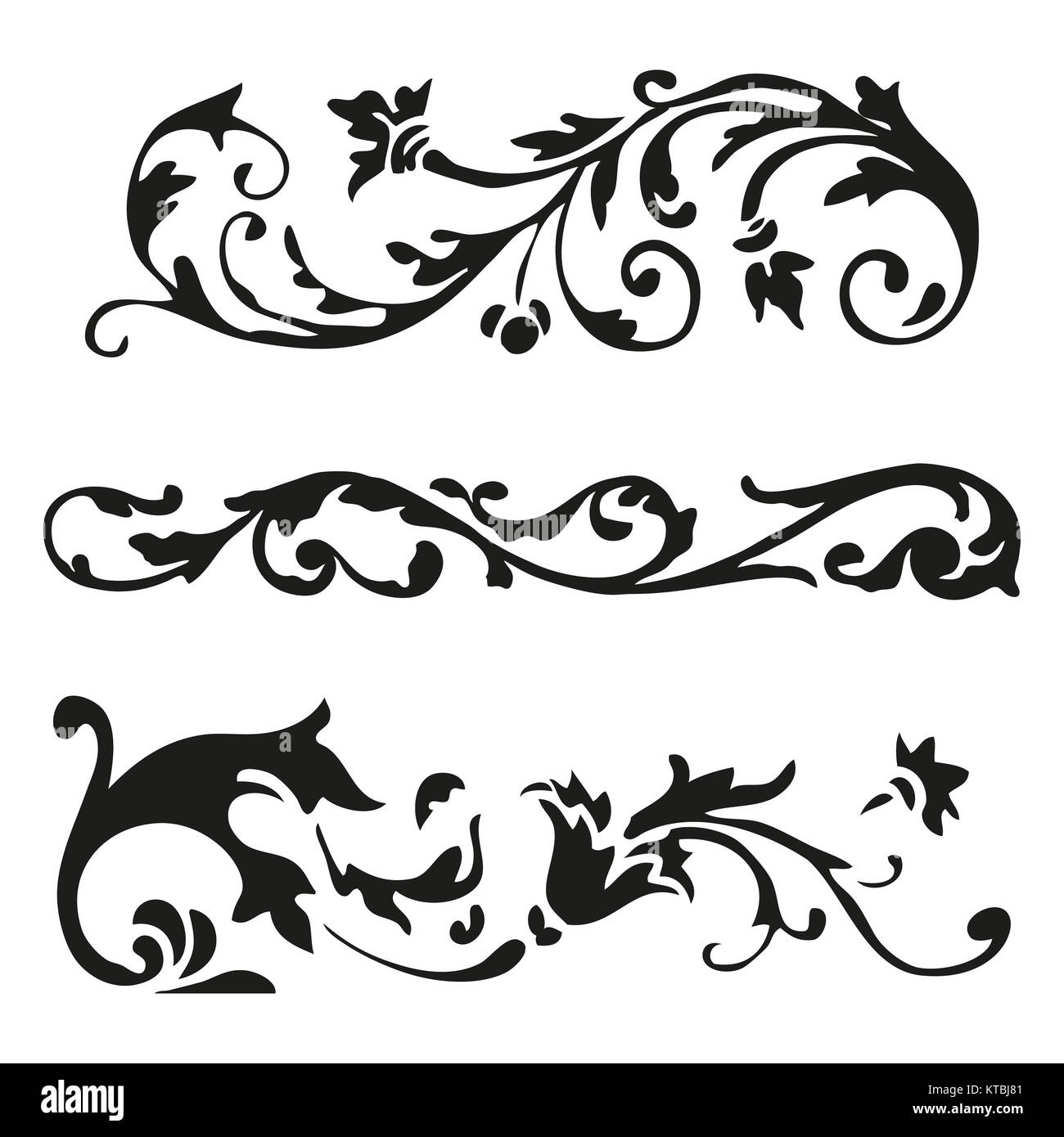 Vector Illustration Set Of Curled Flourishes Decorative Floral Stock