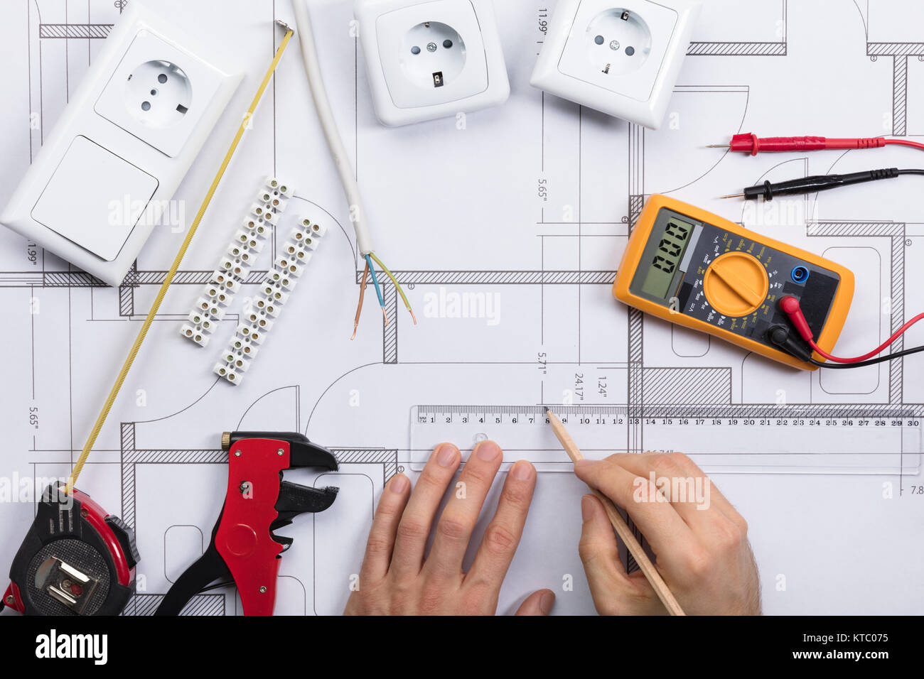 Electrical Multimeter Wiring Diagram Stock Photos Home Diagrams And Blueprints Architect Drawing Plan On Blueprint With Components Image