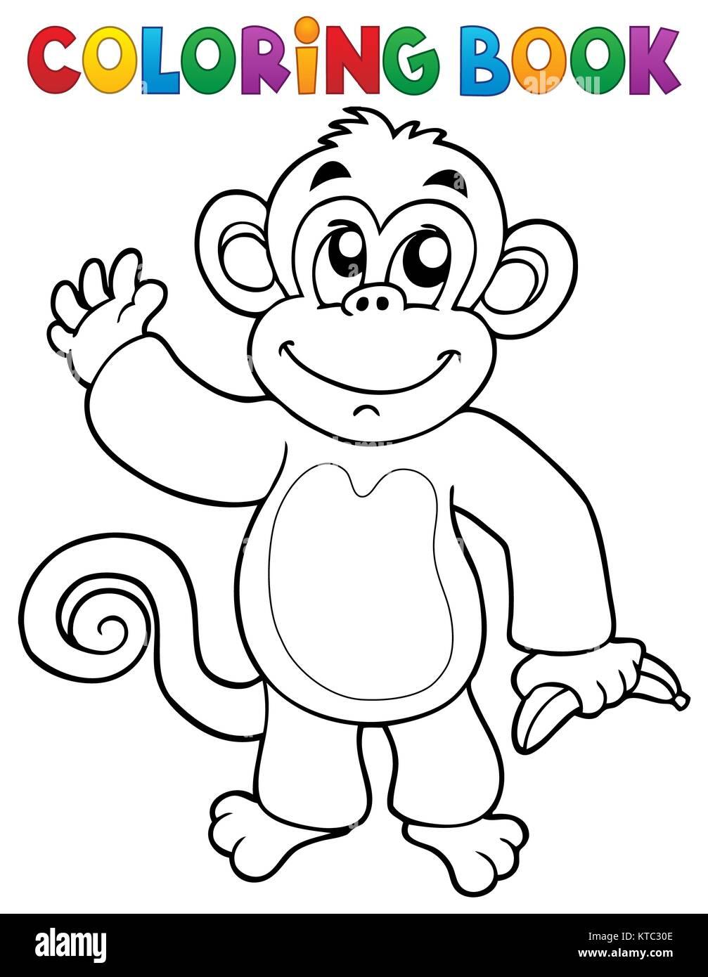 Coloring book monkey theme 3 Stock Photo: 169910846 - Alamy