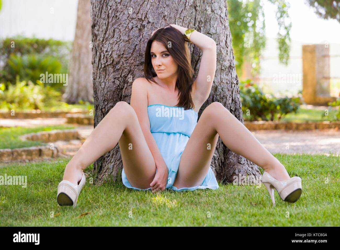 Woman spreading her legs