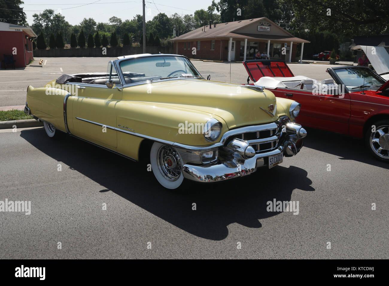 Auto 1953 Cadillac Convertible Yellow Car Show At Centerville Washington Township Americana Festival Dayton Ohio USA 53CADDY