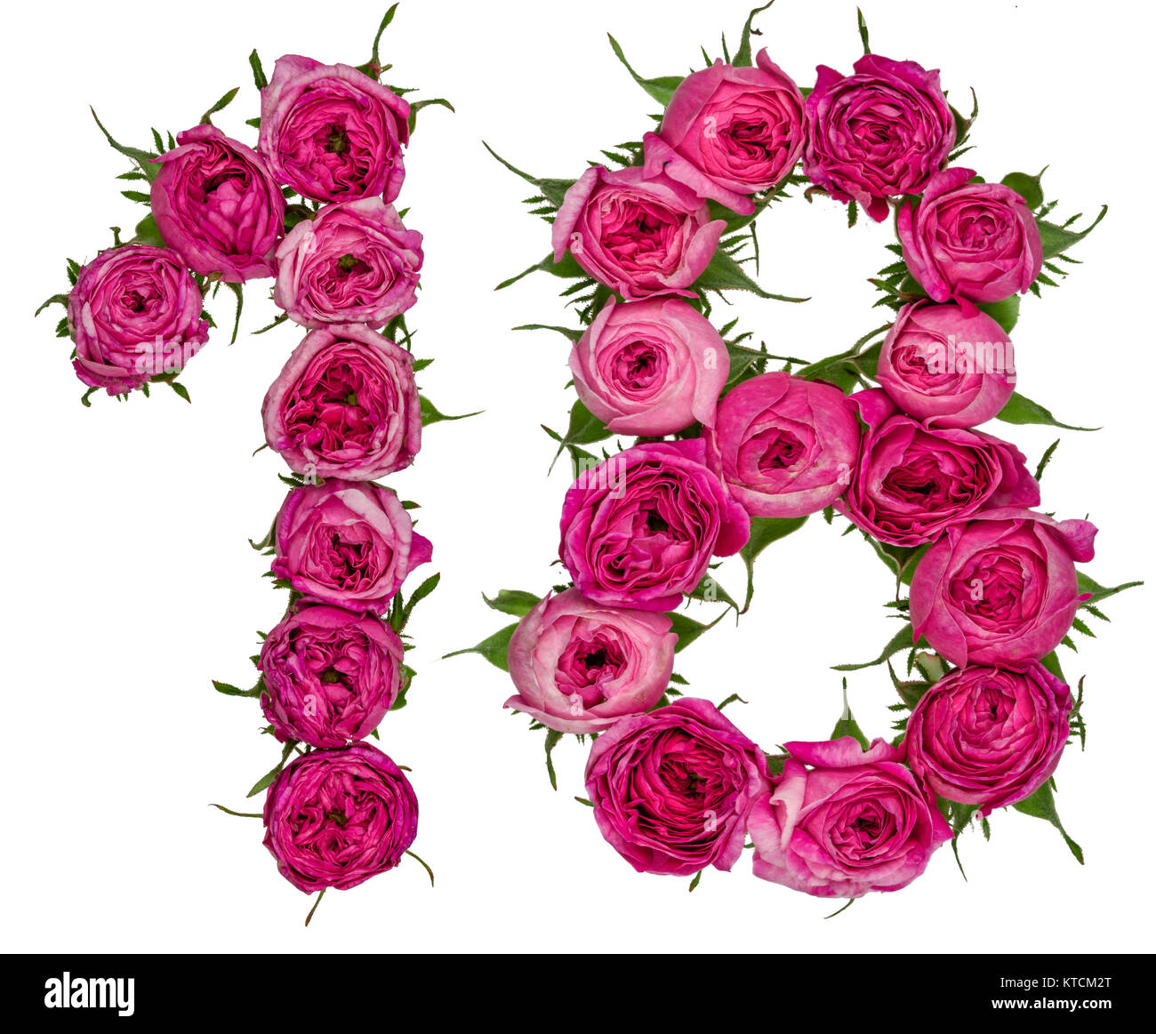 Arabic Numeral 18 Eighteen From Red Flowers Of Rose Isolated On