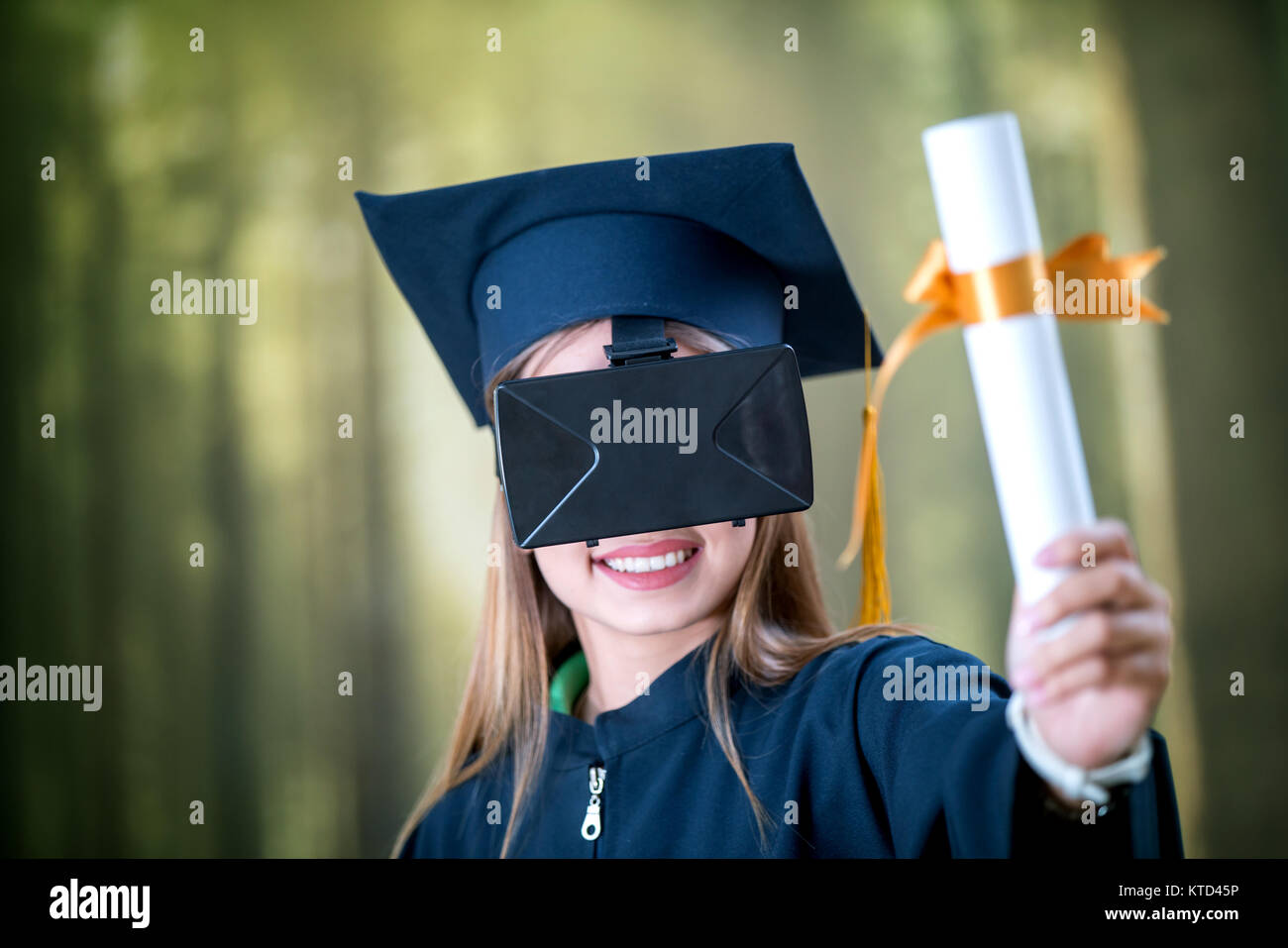 graduation vr distance learning concept diploma hat stock  graduation vr distance learning concept diploma hat