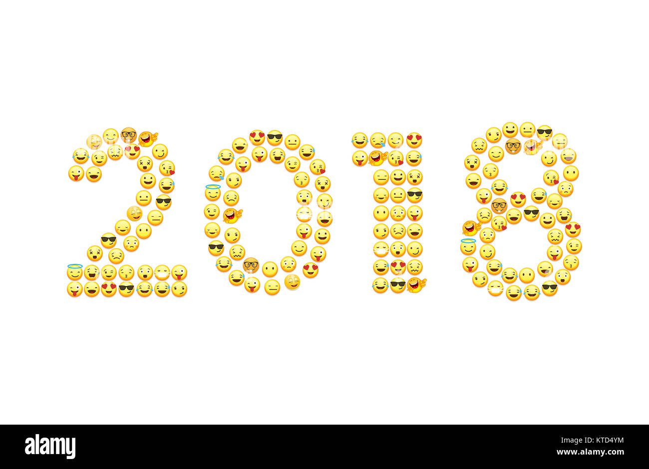 new year greetings 2018 in emoji style
