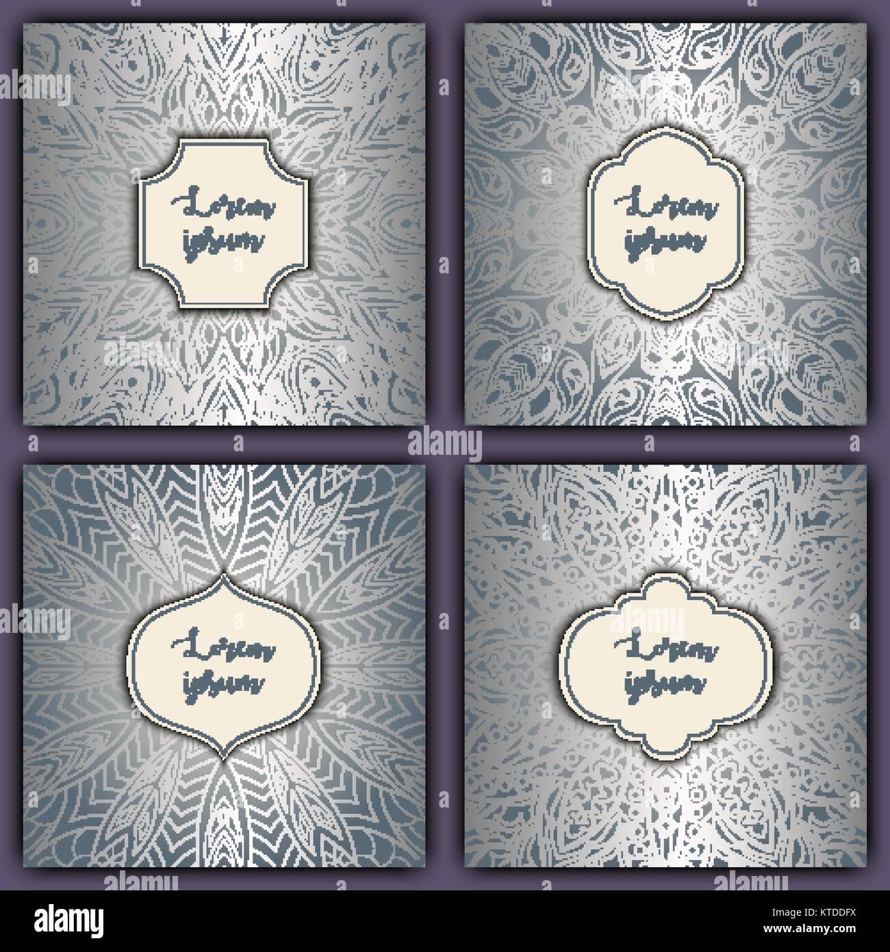 Set of mandala background cards vintage luxury glowing elements set of mandala background cards vintage luxury glowing elements vector decorative retro greeting card kristyandbryce Images