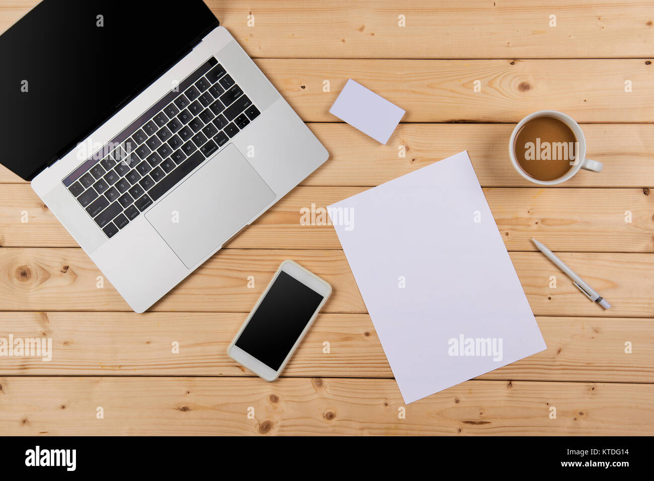 Working Place, Wooden Table. Top View Office Corporate Design Mockup  Template