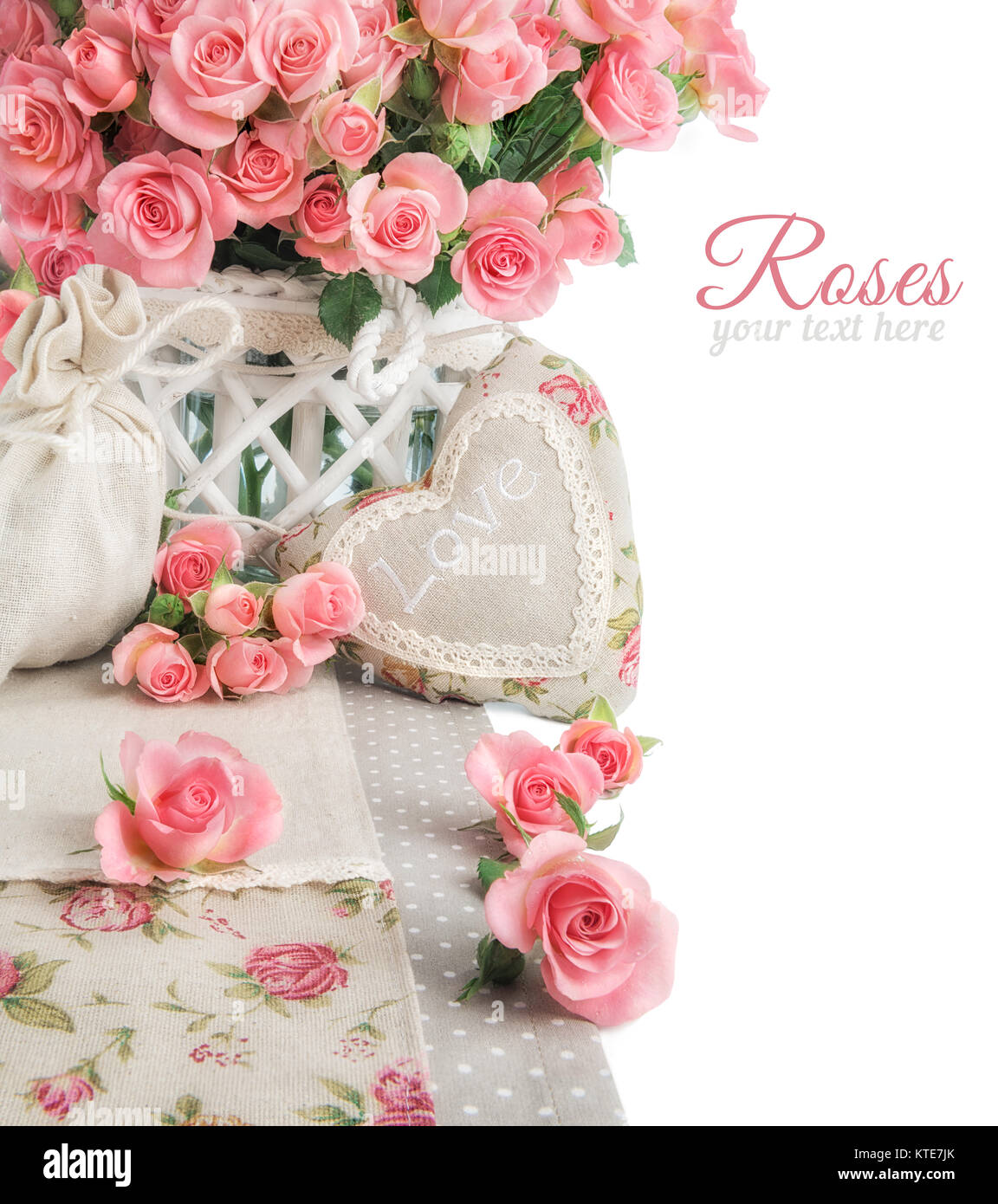 Border Image With Many Pink Roses And Stuffed Heart On White Stock