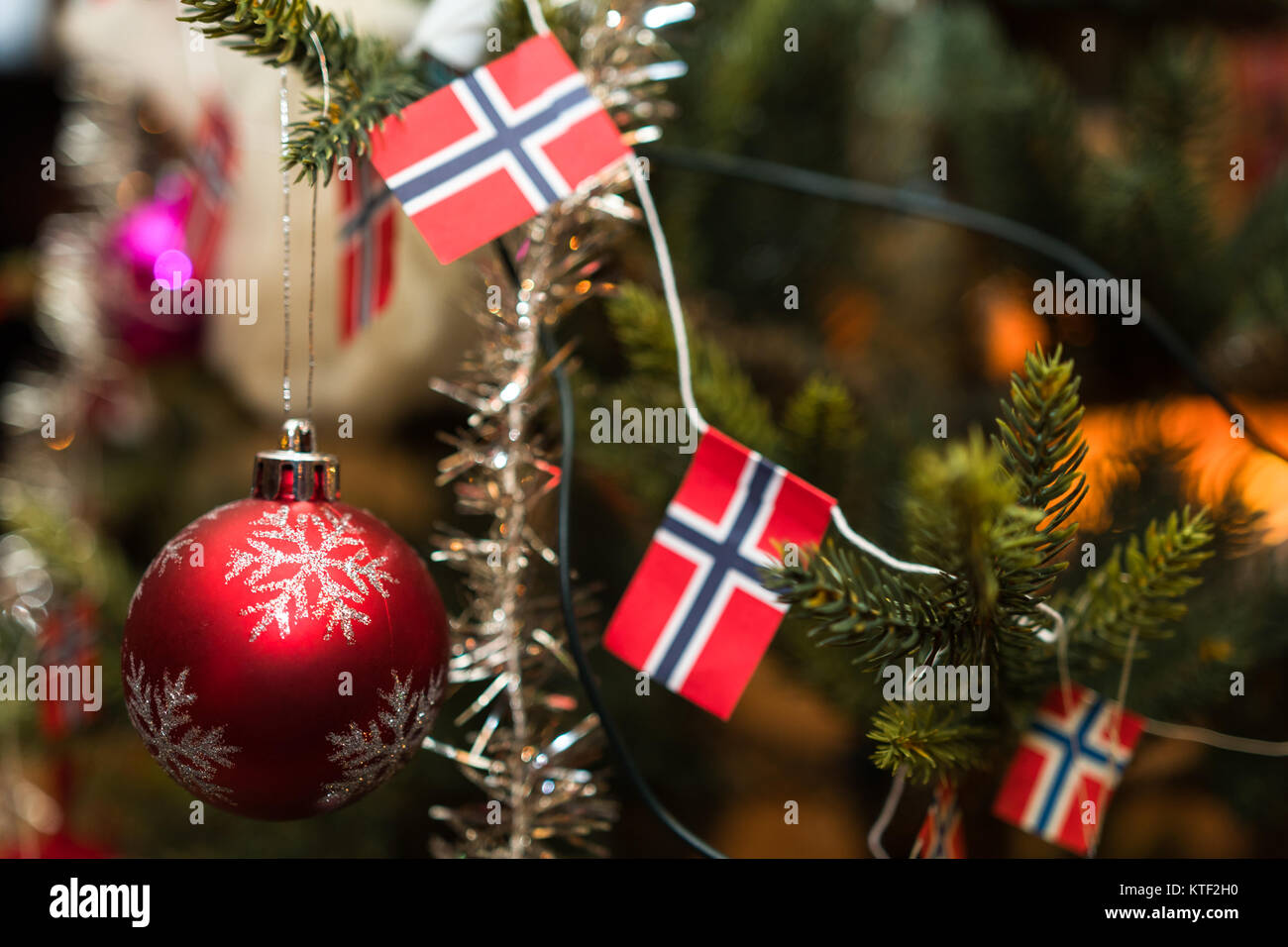 Christmas decorations on a christmas tree with Norwegian flags Stock ...