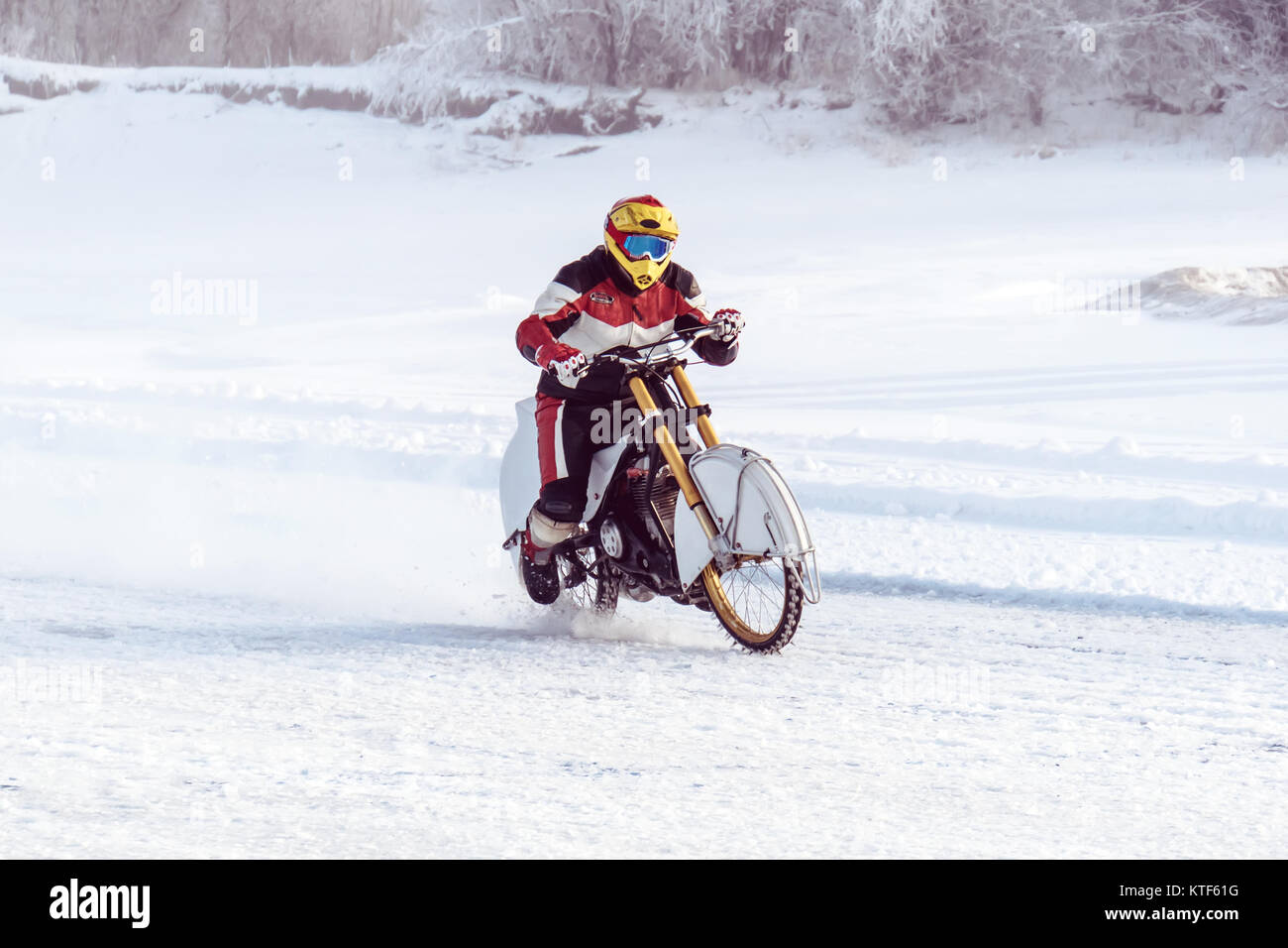 Motorcycle On Studded Tires Winter Speedway Extreme Bike Race In