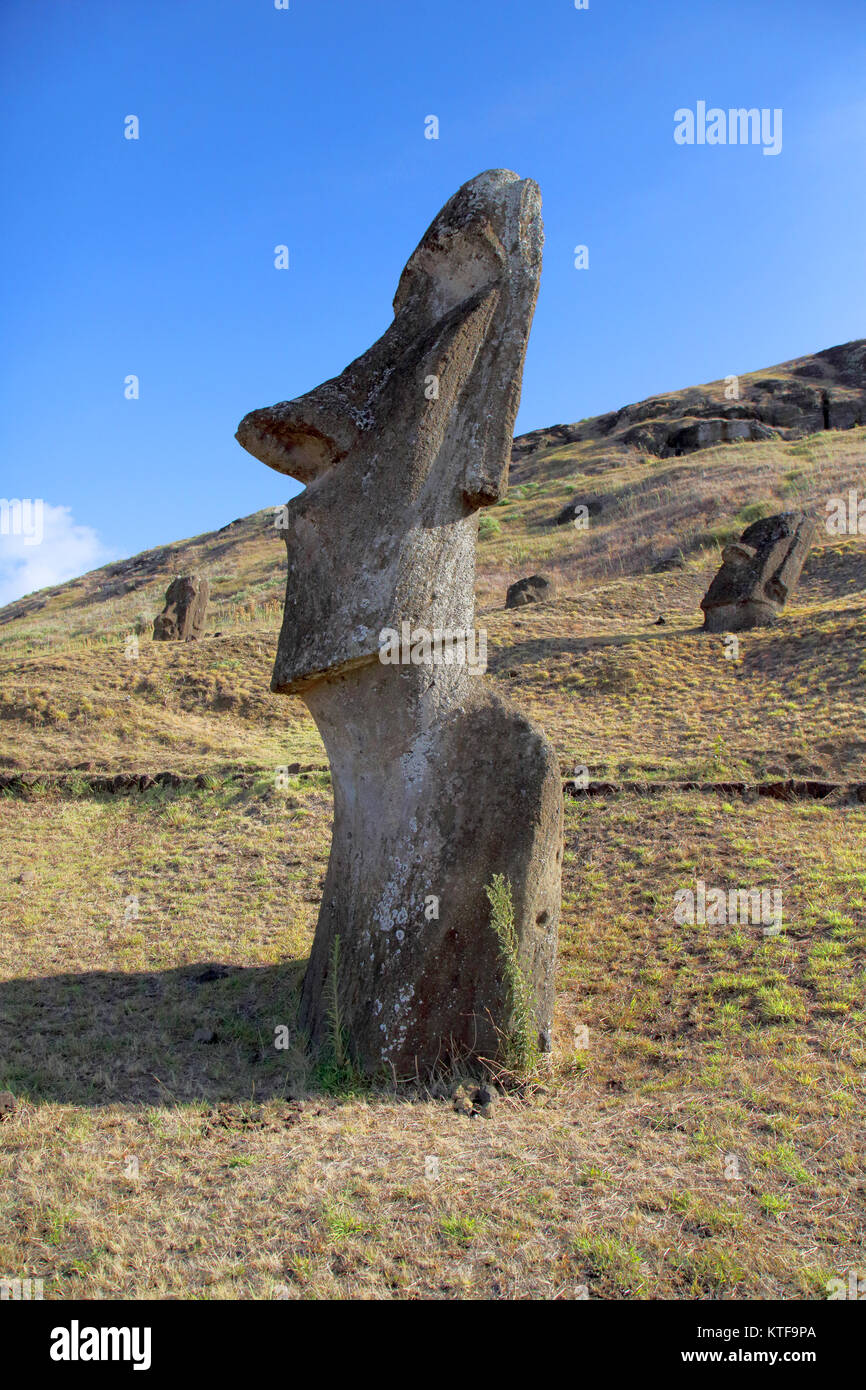 Moai stone heads stock photos