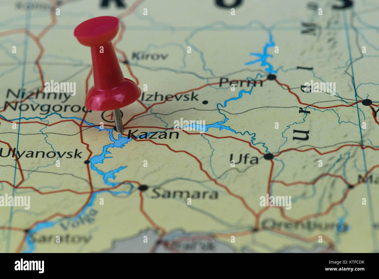 Kazan pinned in a closeup map for football world cup 2018 in Russia