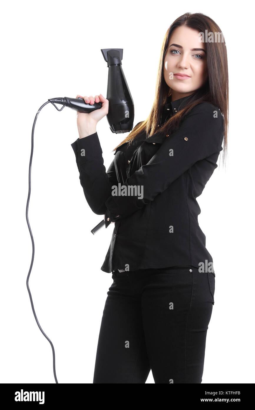 beautiful professional hair stylist holding blow dryer and flat iron - Professional Hair Stylist