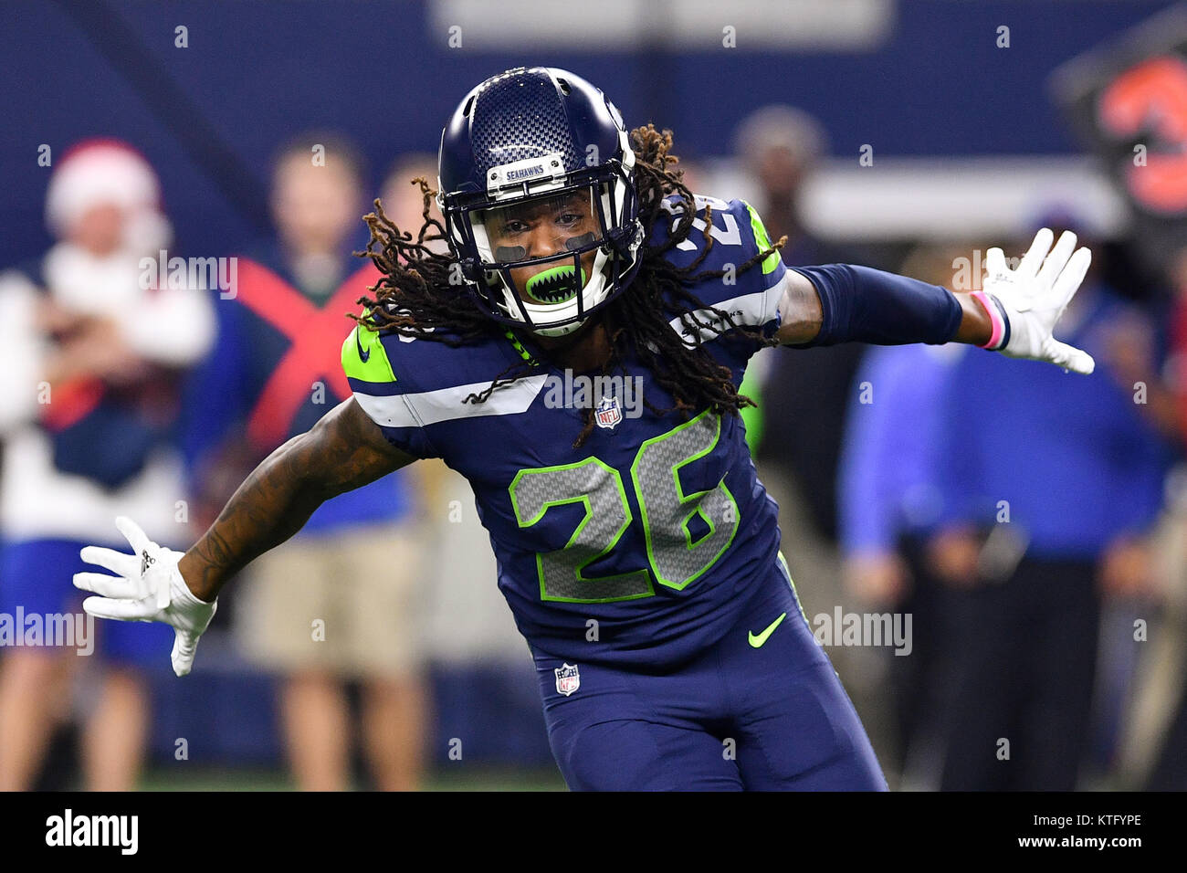 41c46eafa35 Seattle Seahawks cornerback Shaquill Griffin (26) reacts after sacking  Dallas Cowboys quarterback Dak Prescott (4) during an NFL football game  between the ...