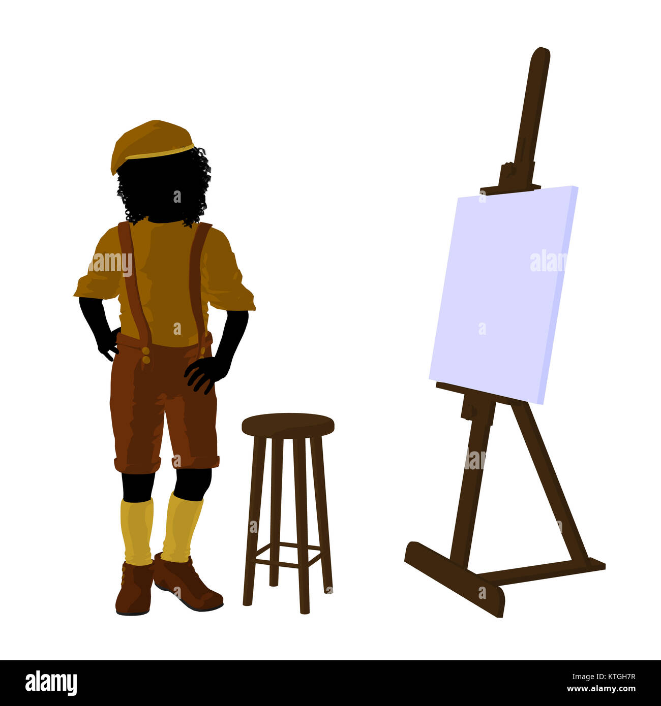 male tween african american artist with an easel and stool on a