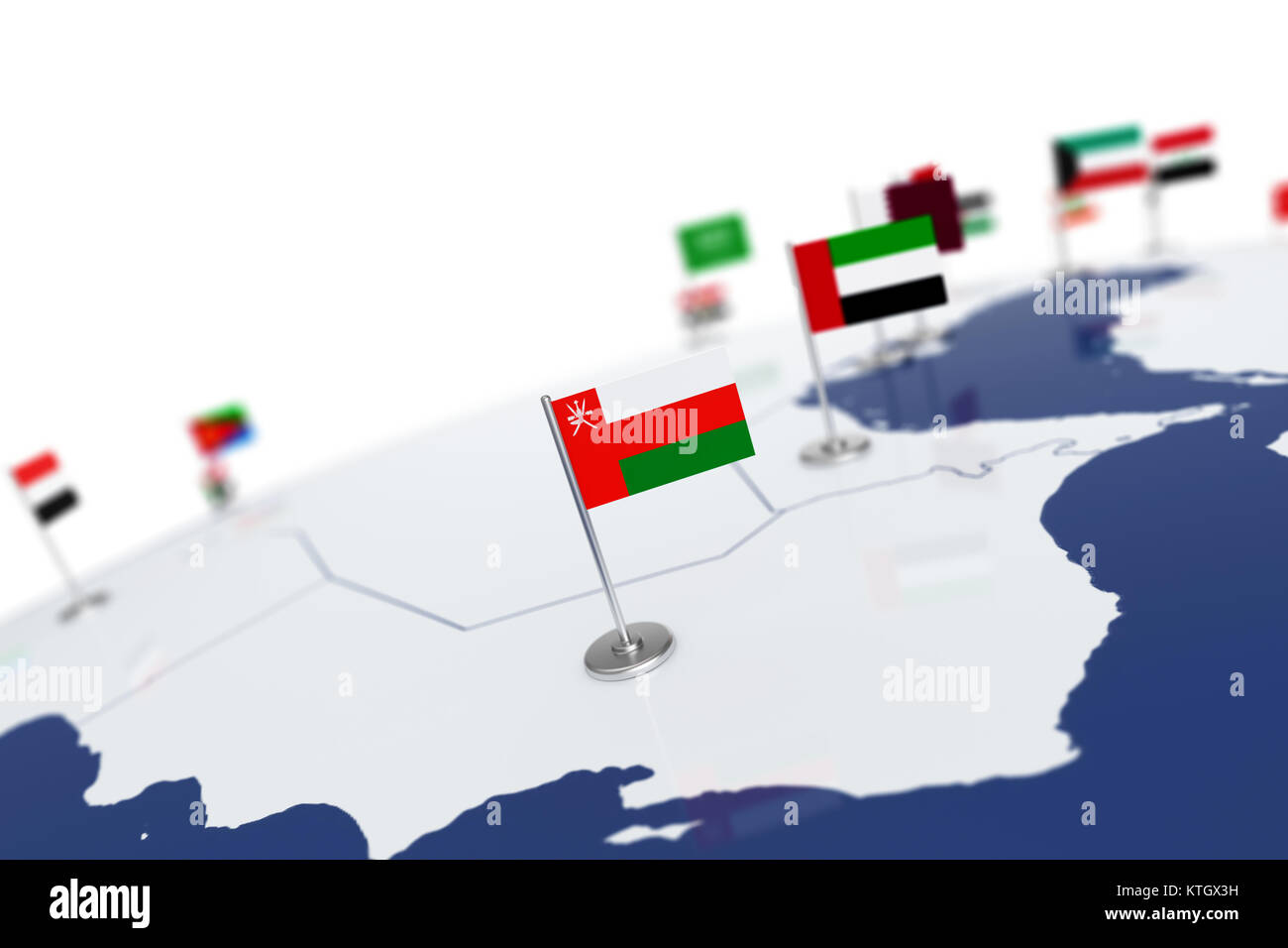 Oman flag country flag with chrome flagpole on the world map with oman flag country flag with chrome flagpole on the world map with neighbors countries borders 3d illustration rendering flag gumiabroncs Image collections