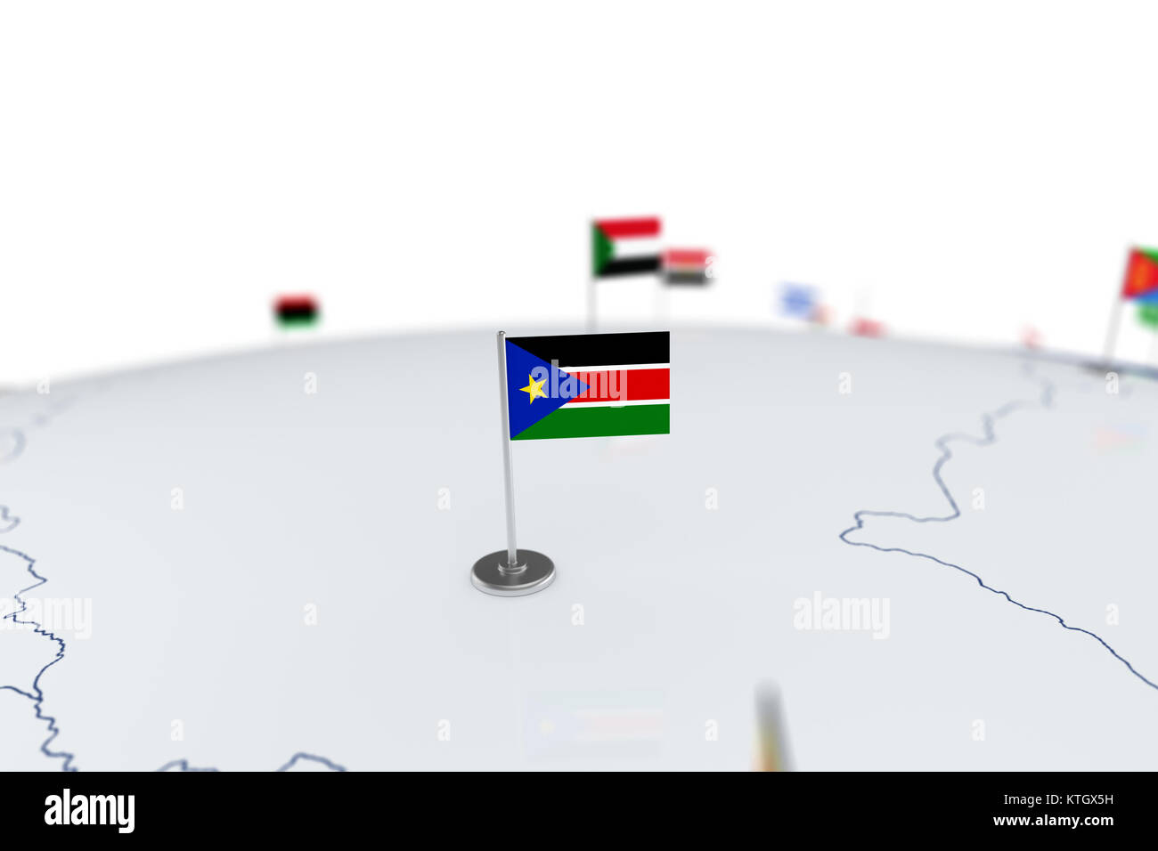 South sudan flag country flag with chrome flagpole on the world south sudan flag country flag with chrome flagpole on the world map with neighbors countries borders 3d illustration rendering flag gumiabroncs Gallery