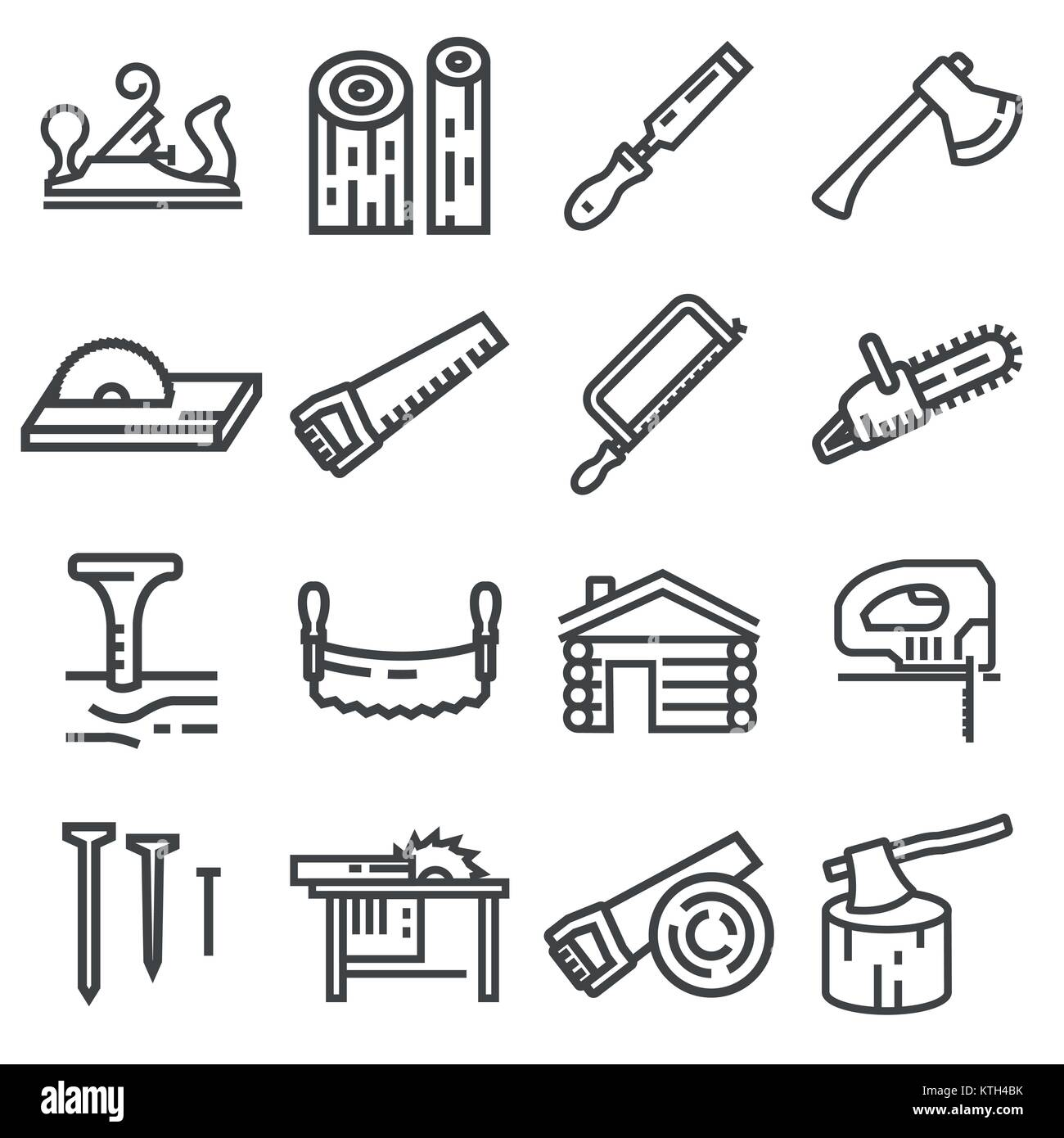 Carpentry Wood Work Tools And Equipment Line Icons Set Isolated
