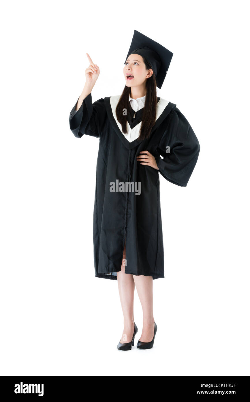 Happy Beauty Girl College Graduate Student Having Good Idea Plan For Future Isolated On White Background