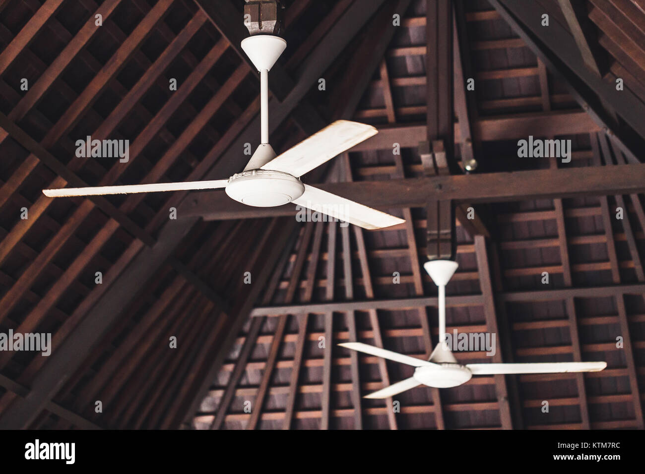 Old Ceiling Fan Hanging Under Wooden Roof Asian Style