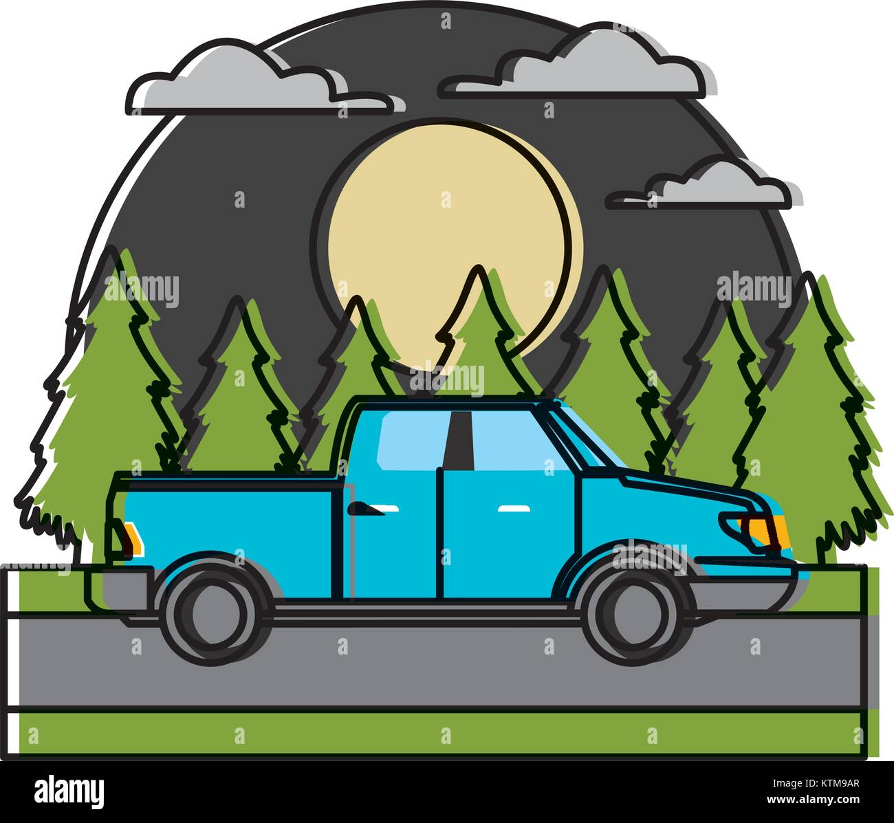 Pick up vehicle In the forest icon vector illustration Stock ...
