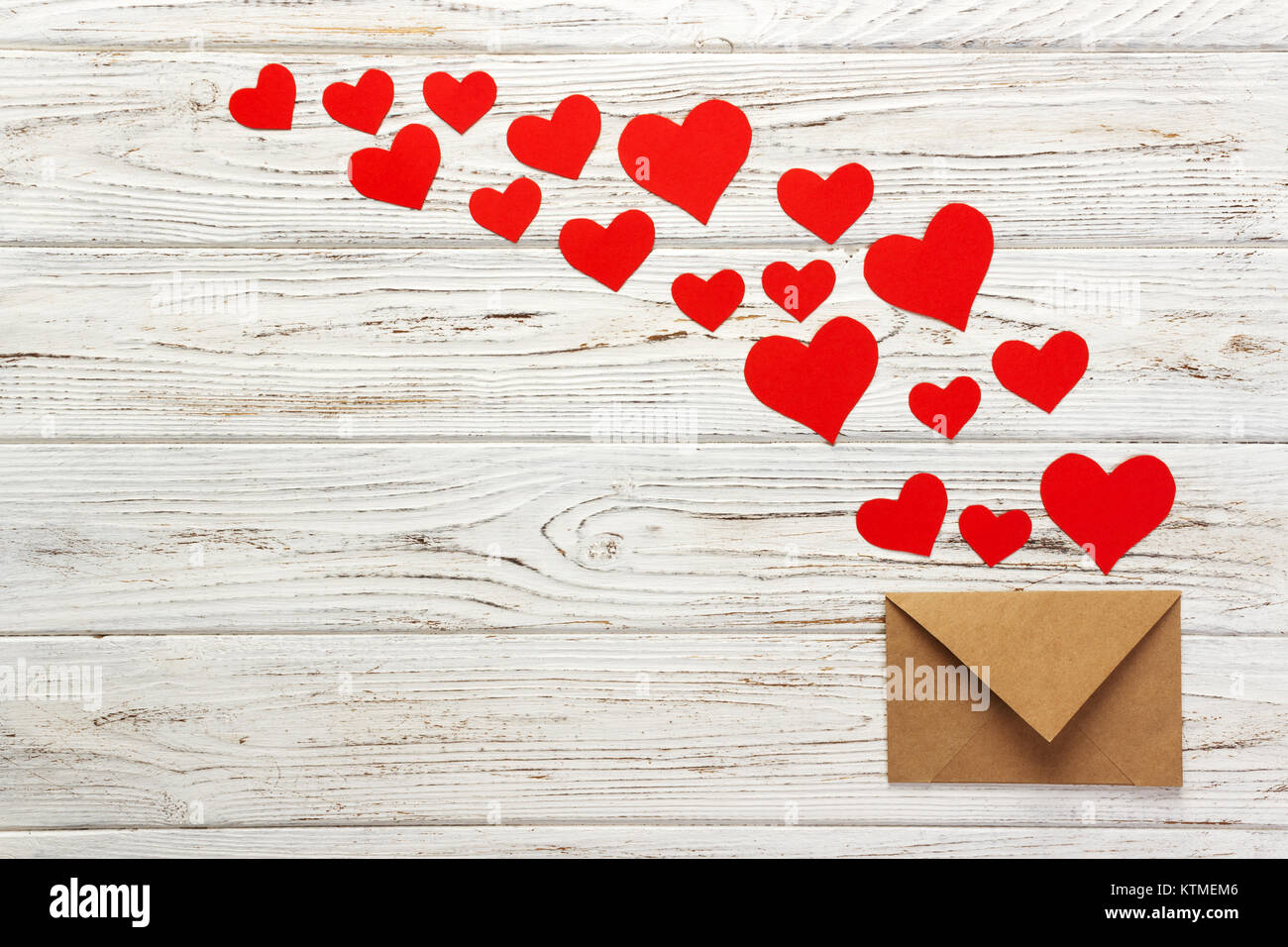 Letter To Valentine Day Love Letter Envelope With Red Hearts On