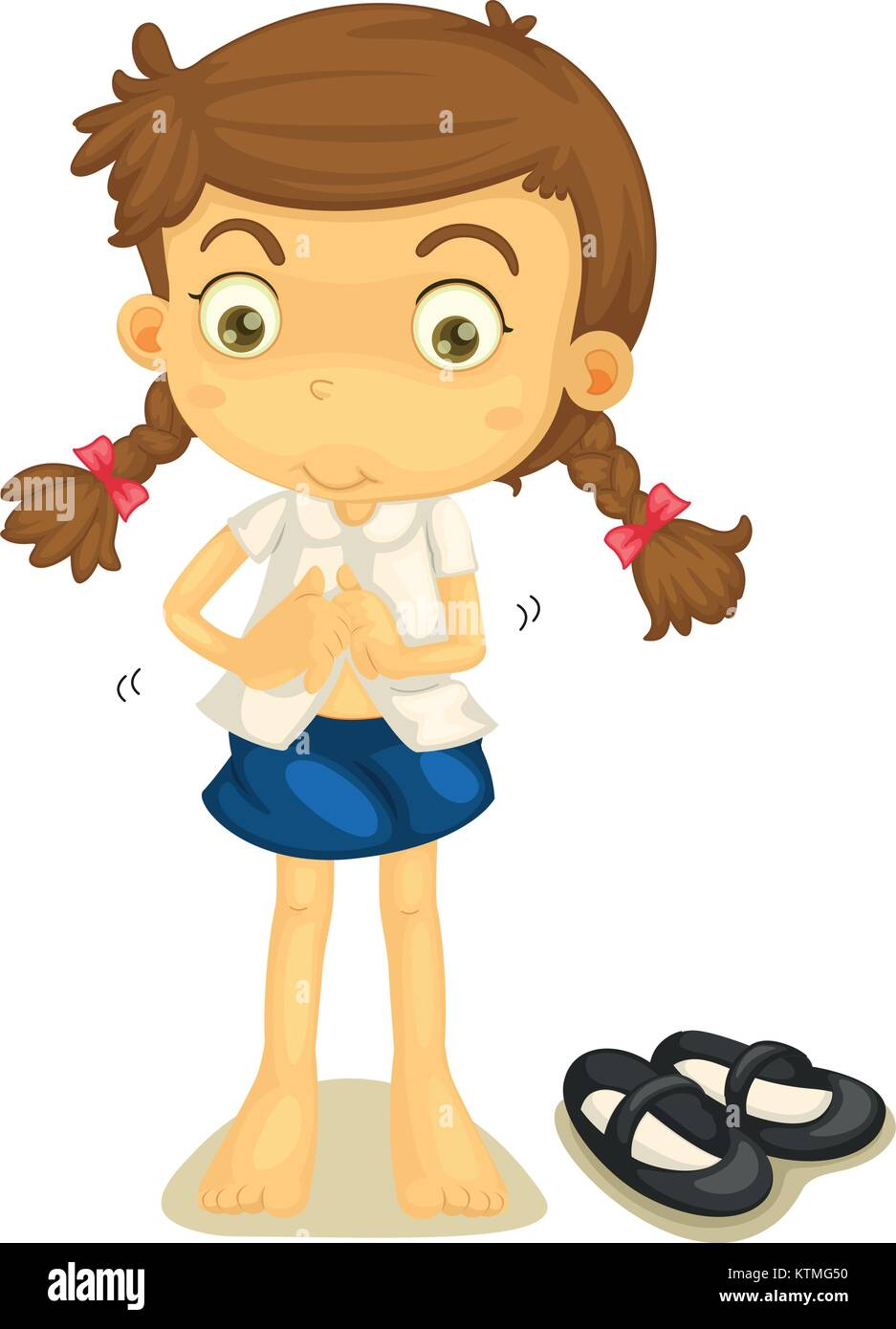 illustration of a girl in school uniform on a white stock vector art