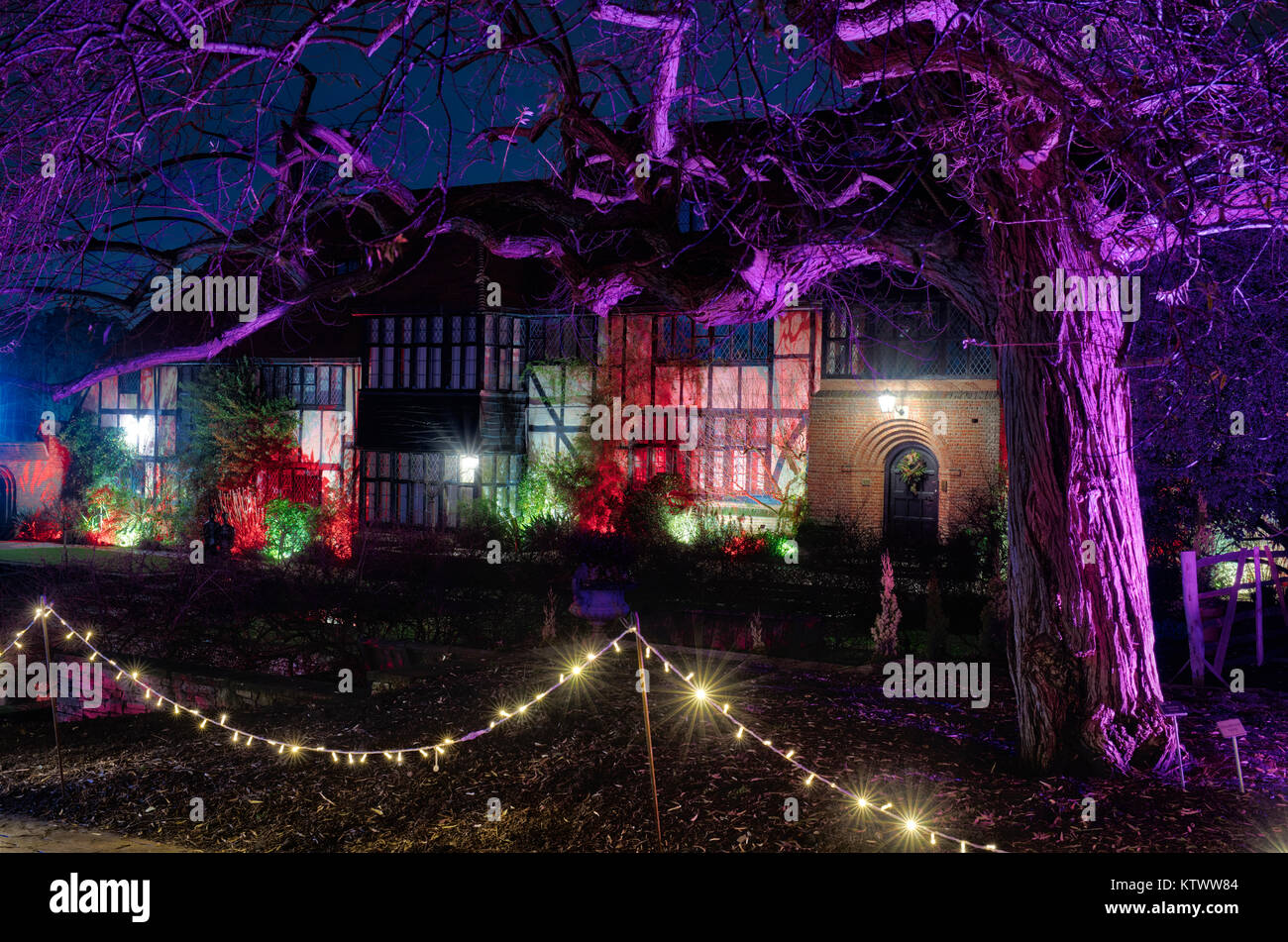 christmas lights outside the laboratory building rhs wisley gardens surrey england christmas glow festival 2017 hdr