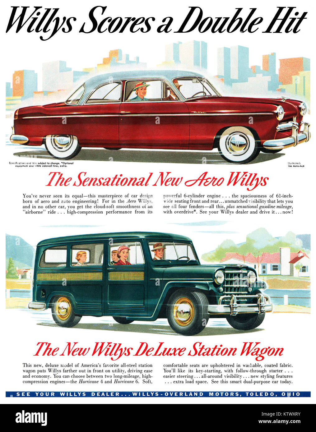 Willys Stock Photos Images Alamy 1941 Jeep Station Wagon 1952 Us Advertisement For The Overland Aero Automobile And Deluxe