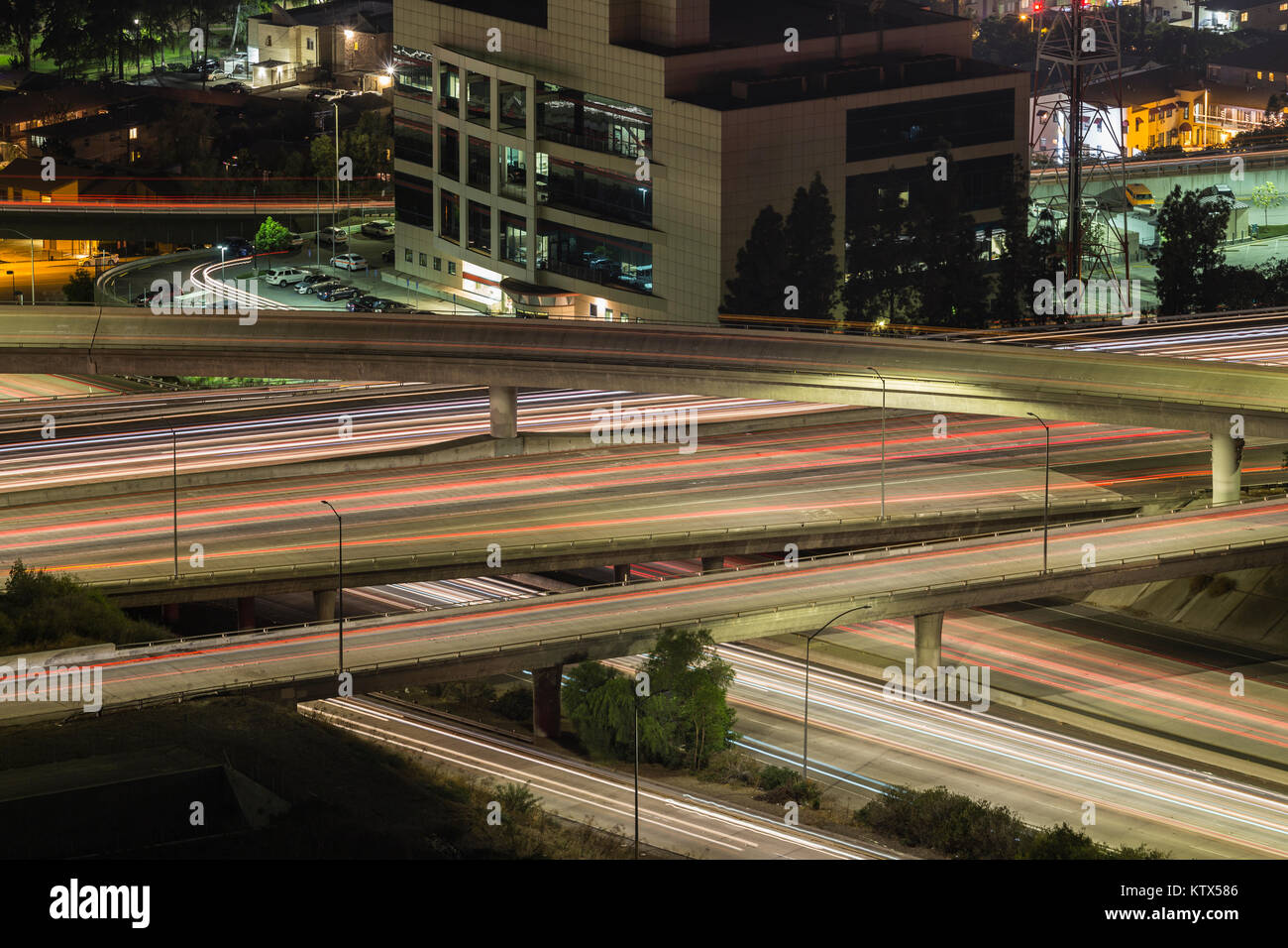 Night Traffic At The Ventura 134 And Glendale 2 Freeway Interchange In Los Angeles California