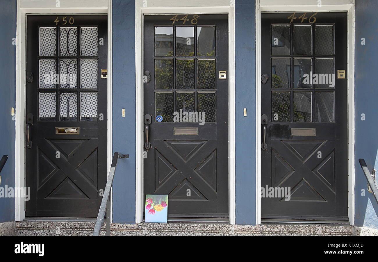 San Francisco California April 13 2017 Three Wood Glass Doors