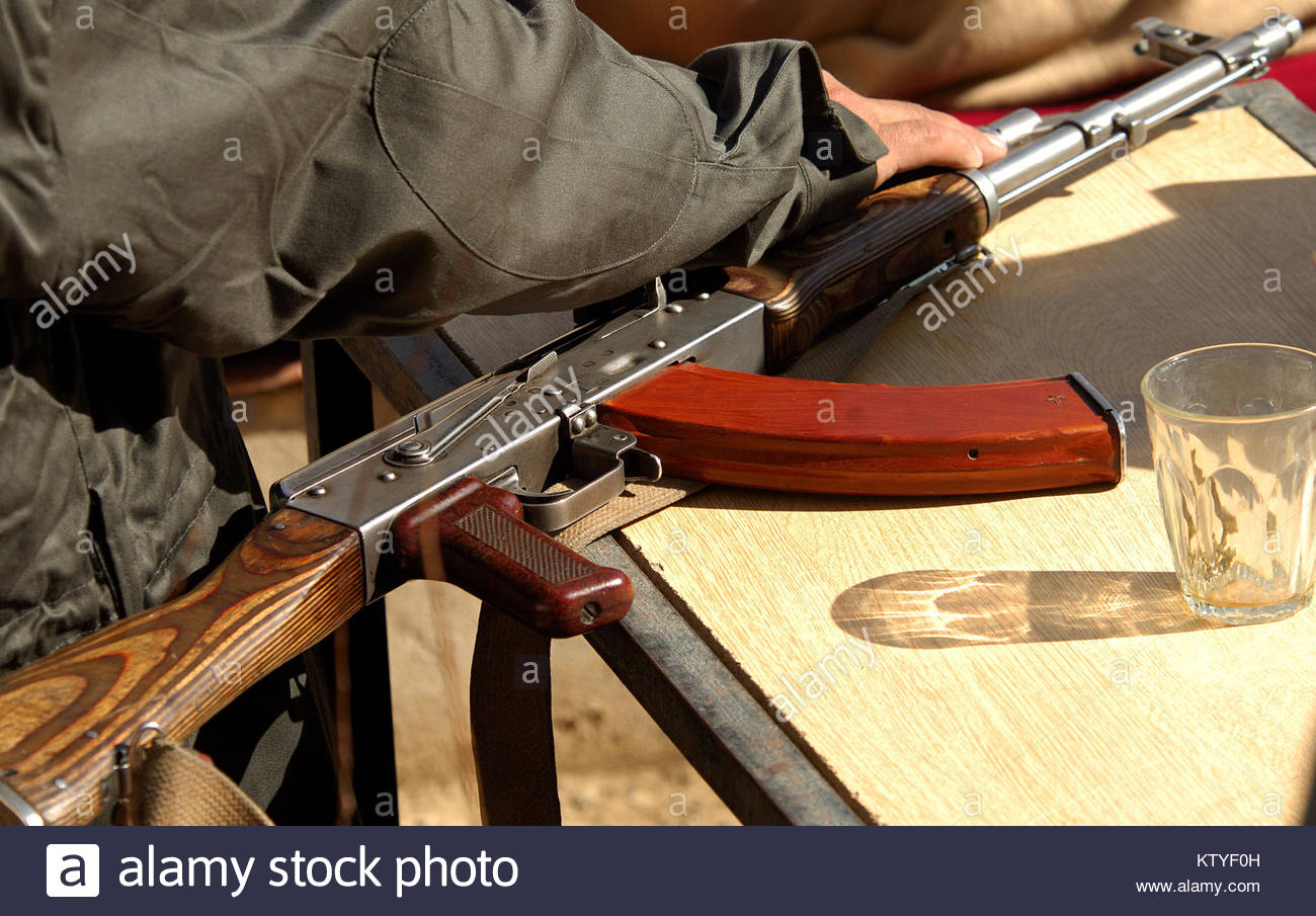 a type 2 ak 47 assault rifle belonging to a soldier of the afghan